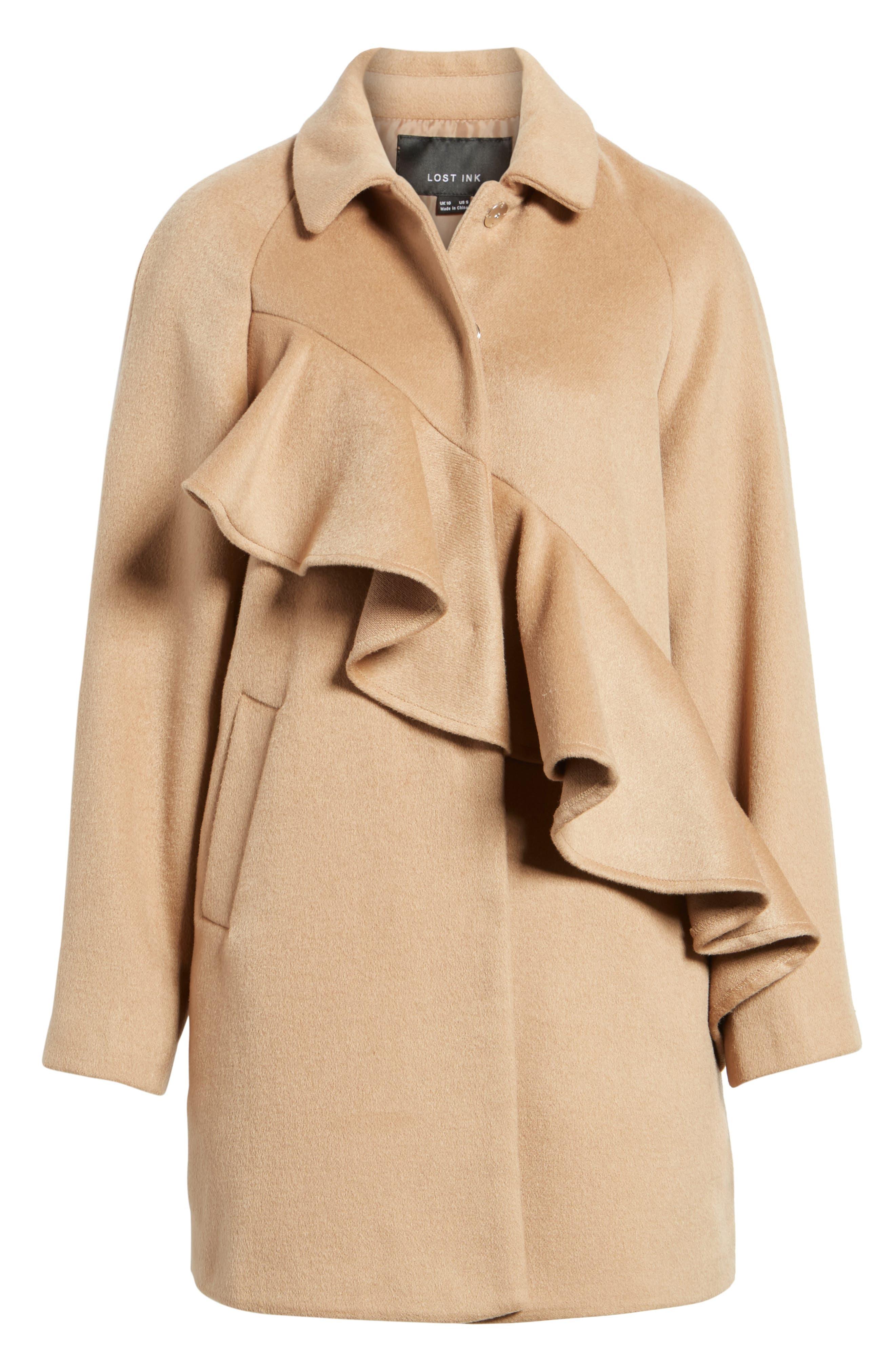 Frill Front Coat,                             Alternate thumbnail 6, color,                             Tan