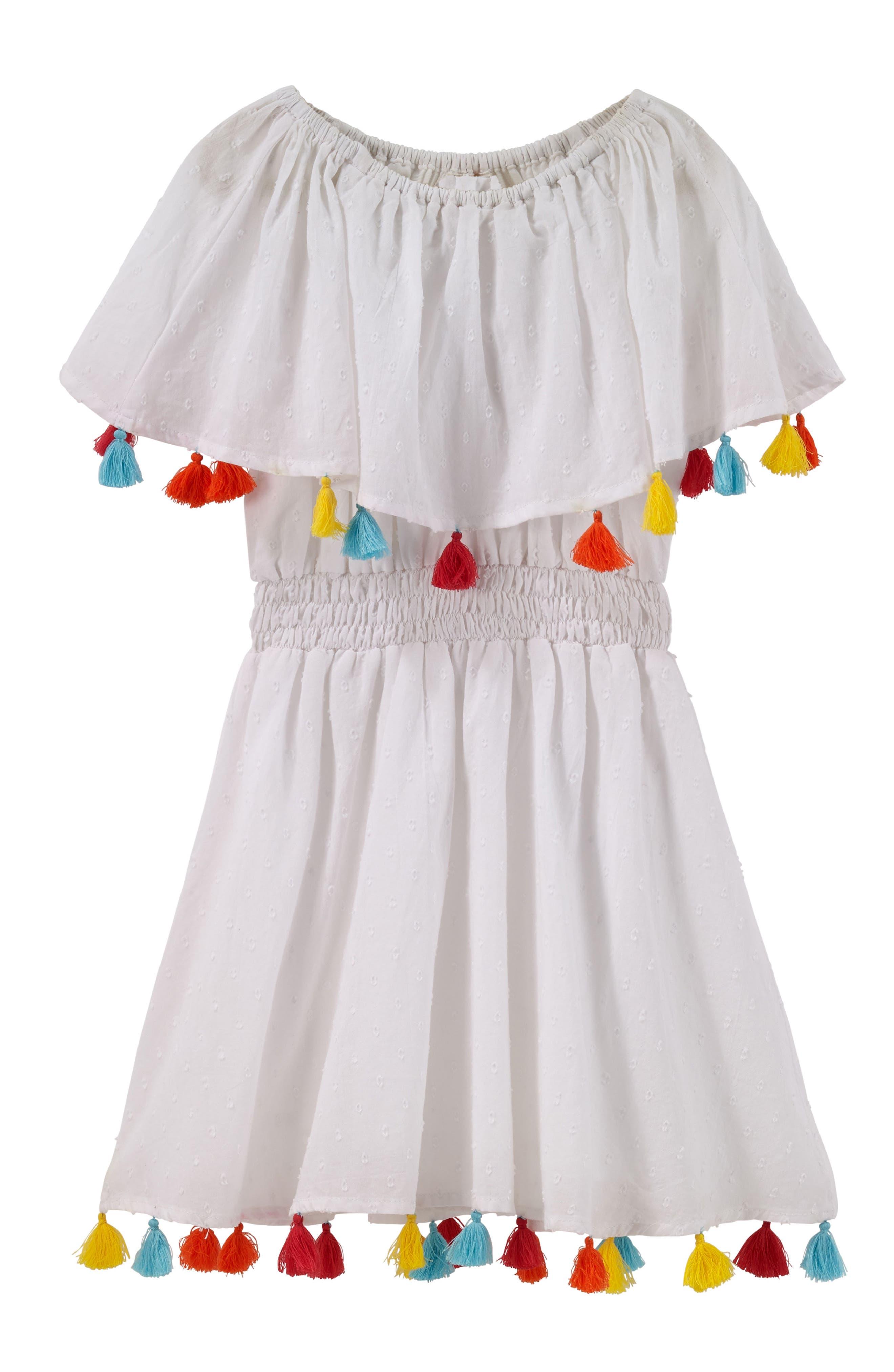 Fun Fair Tassel Dress,                             Main thumbnail 1, color,                             White