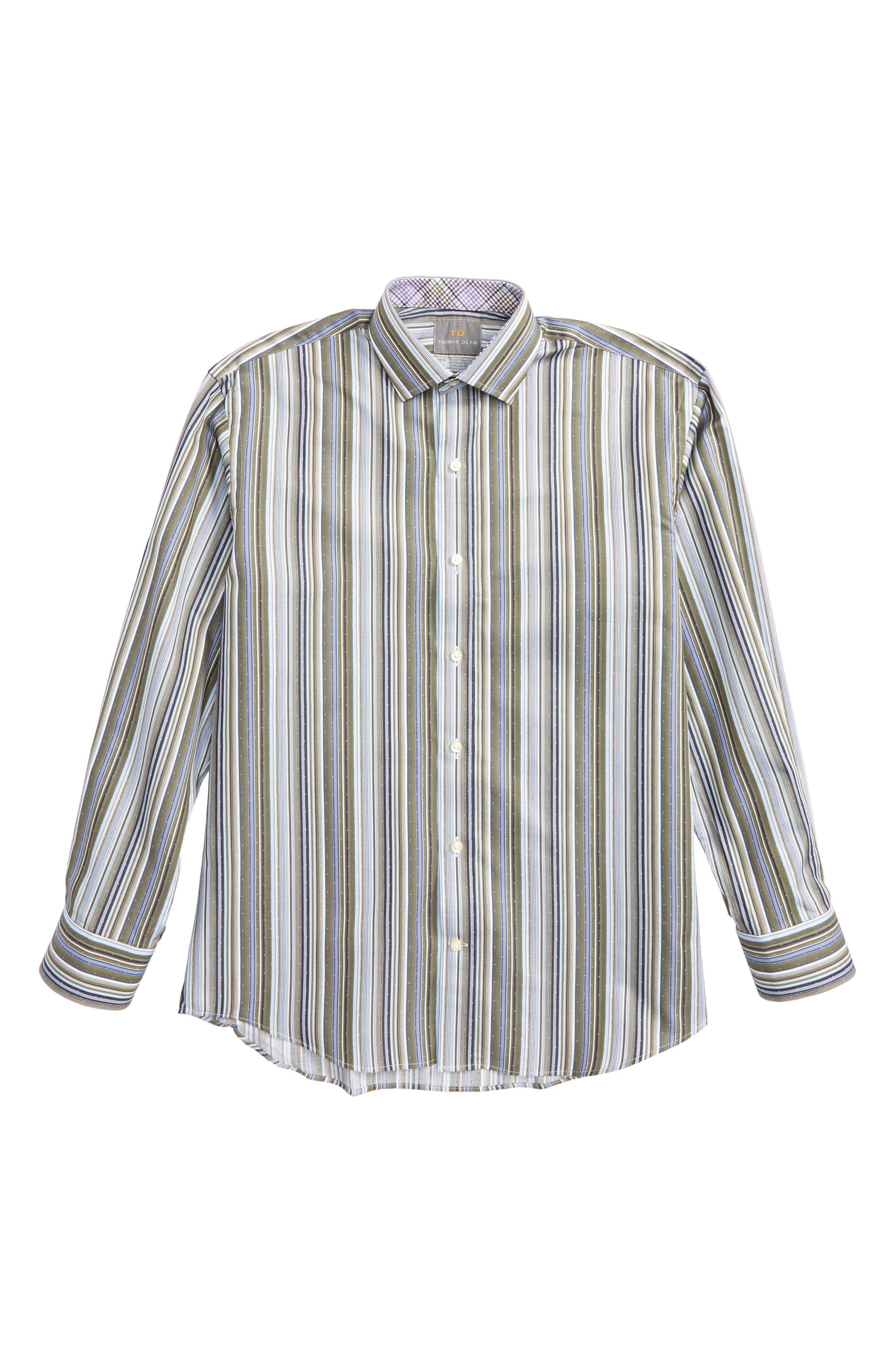 Alternate Image 1 Selected - Thomas Dean Stripe Dress Shirt (Big Boys)