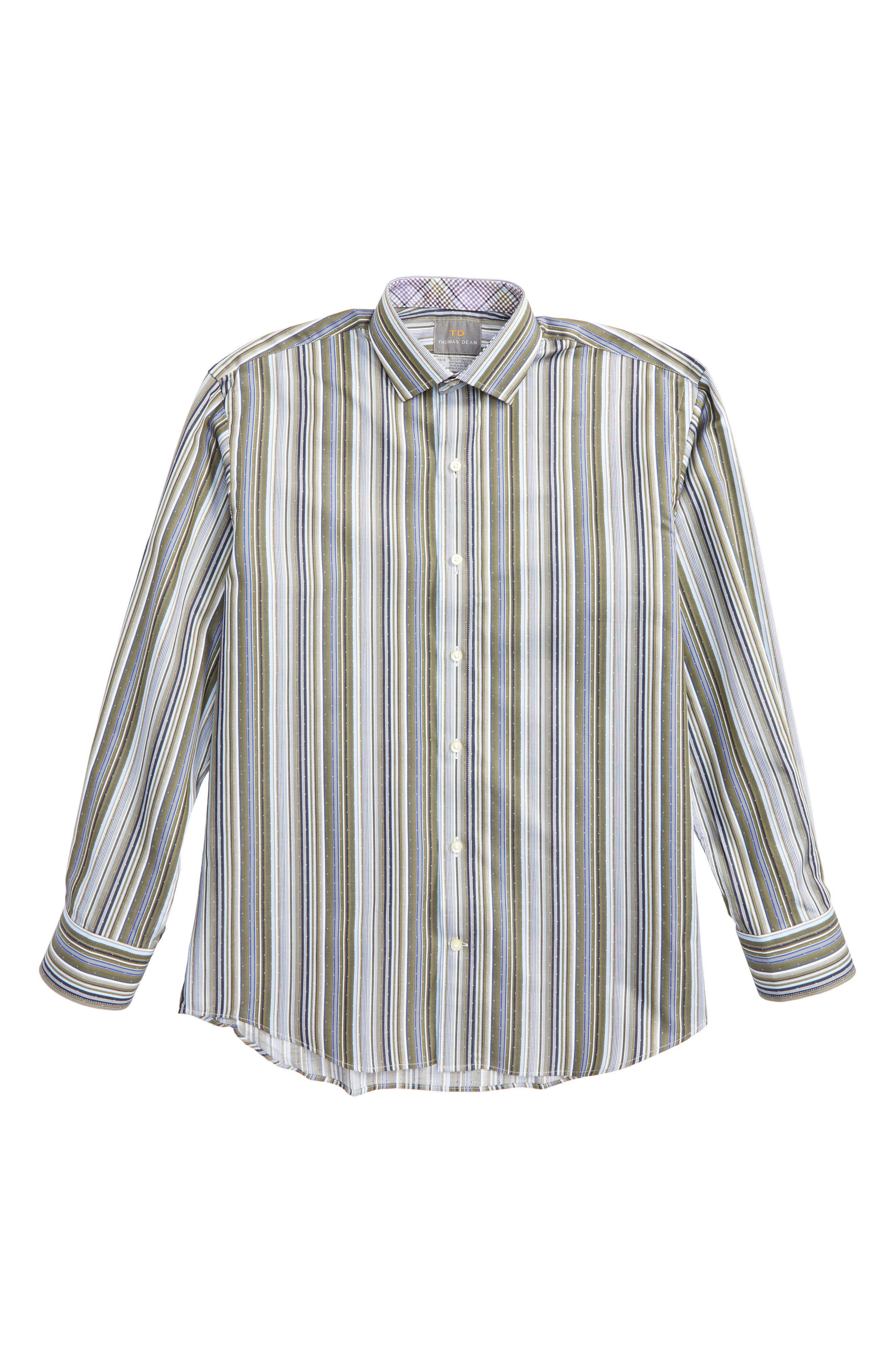 Stripe Dress Shirt,                         Main,                         color, Green