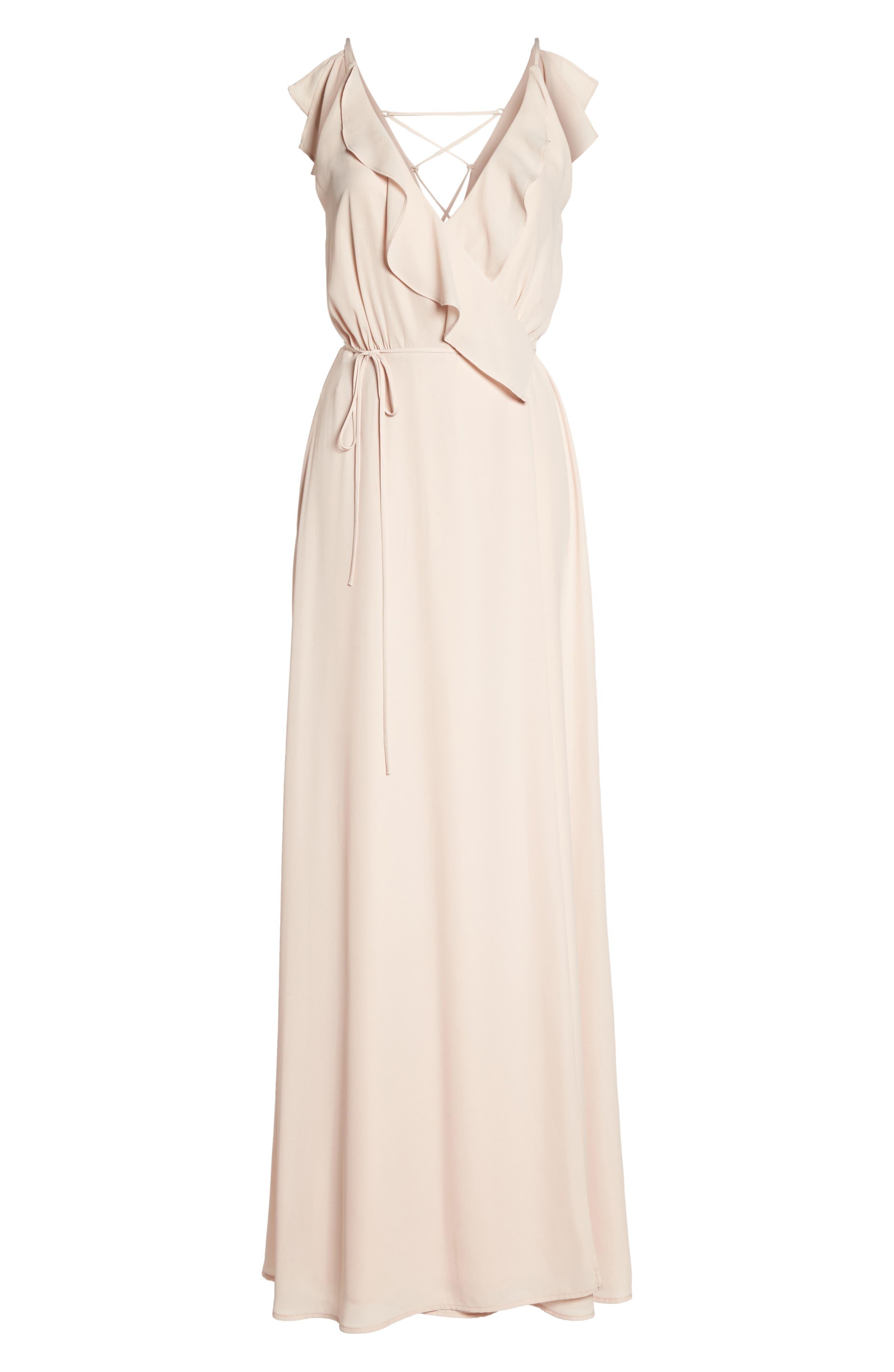 WAYF Jamie Ruffle Wrap Gown