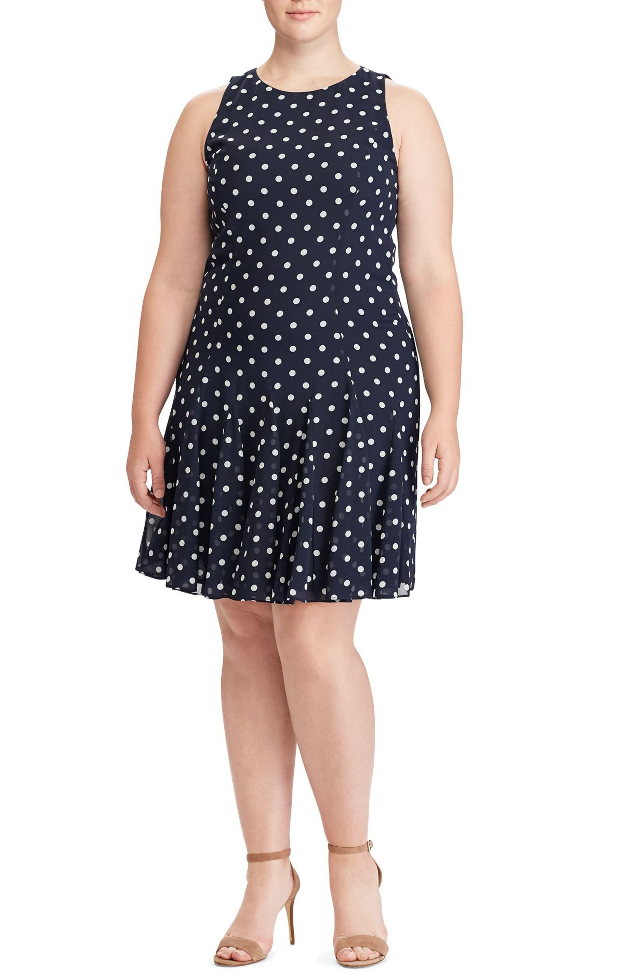 Main Image - Lauren Ralph Lauren Polka Dot Georgette Dress (Plus Size)