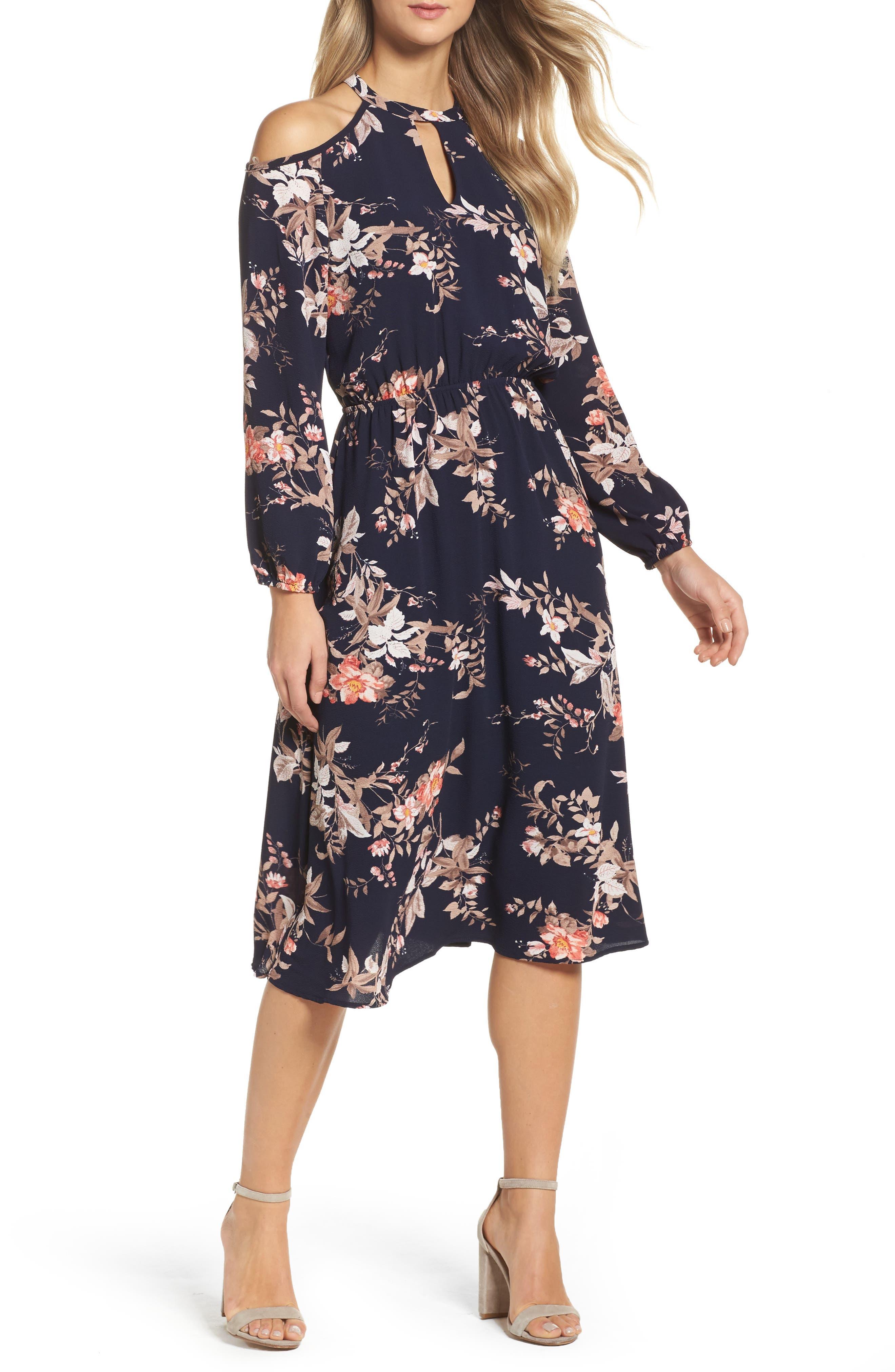 Cold Shoulder Midi Dress,                         Main,                         color, Navy