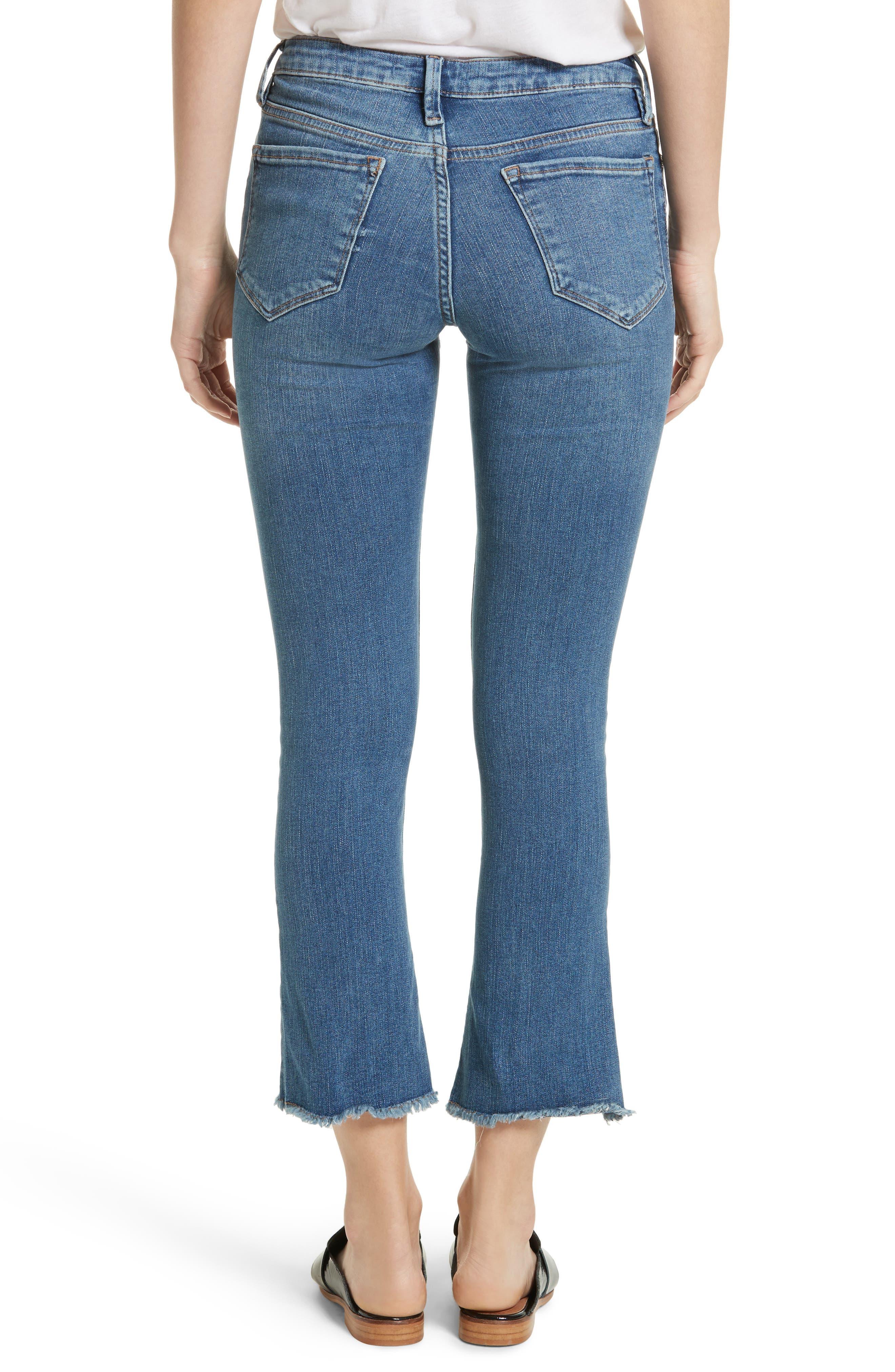 High Waist Crop Straight Leg Jeans,                             Alternate thumbnail 3, color,                             Blue