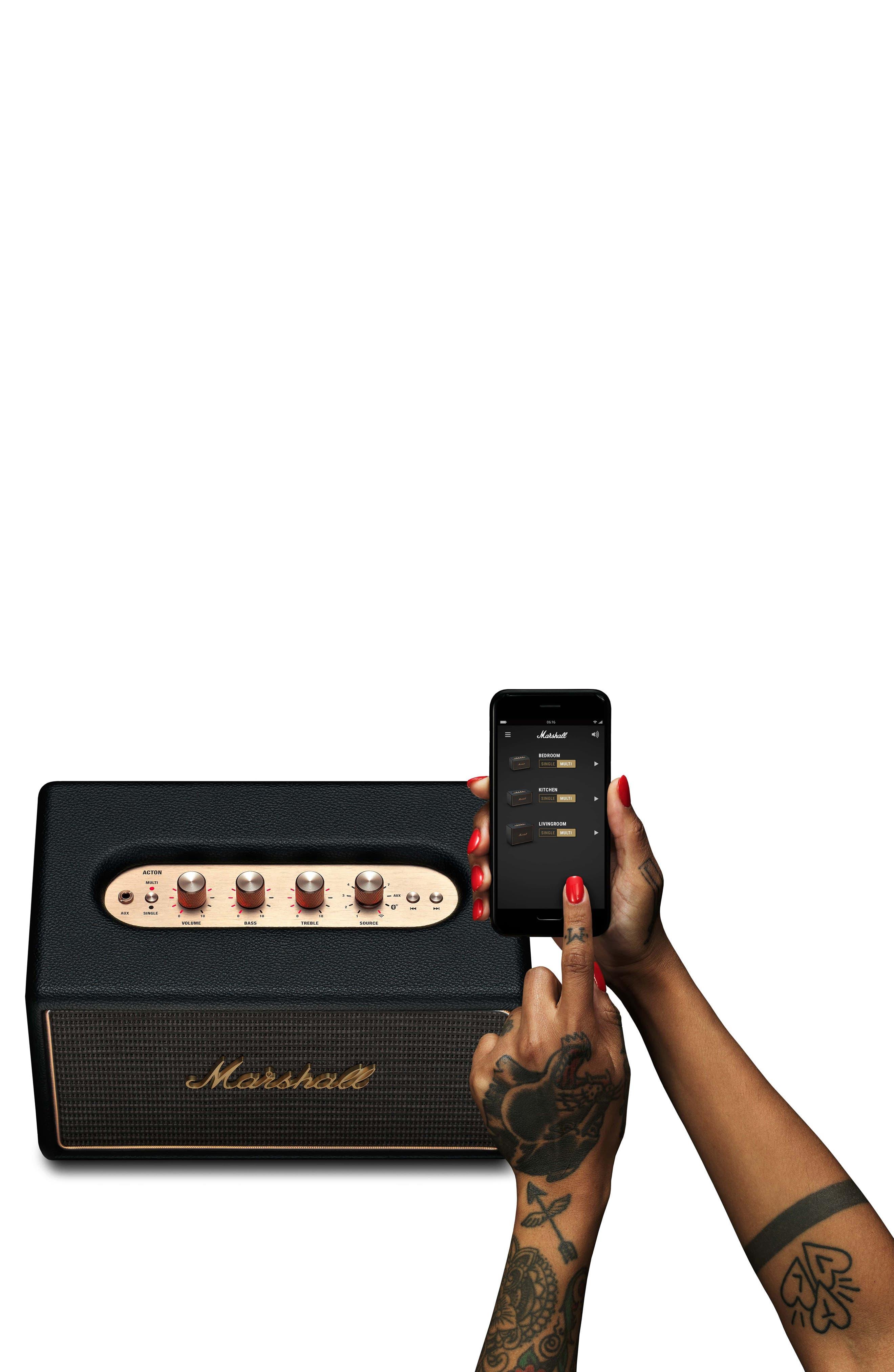 Acton Multi Room WiFi & Bluetooth Speaker,                             Alternate thumbnail 6, color,                             Black