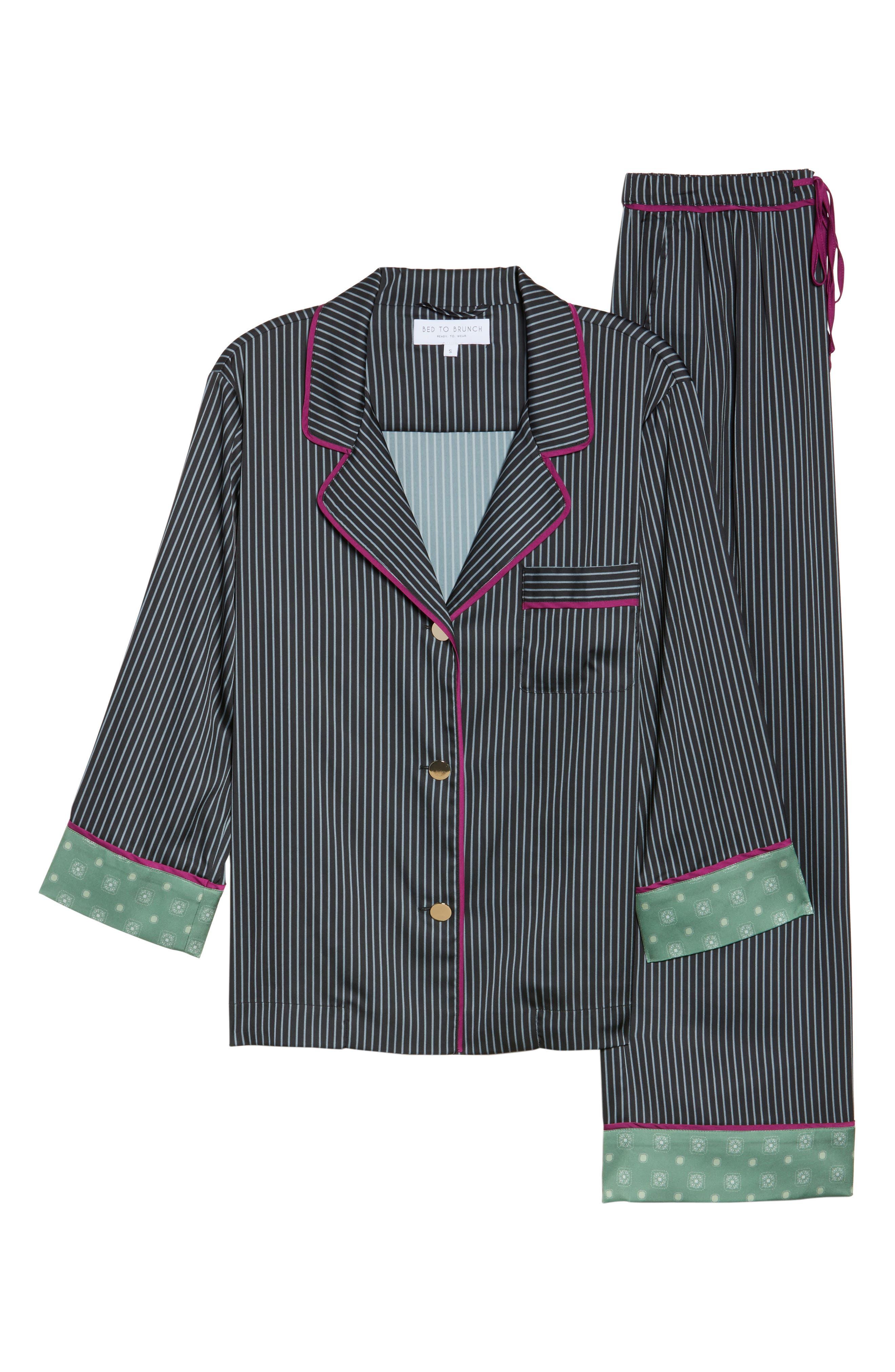 Pinstripe Crop Pajamas,                         Main,                         color, Dark Charcoal