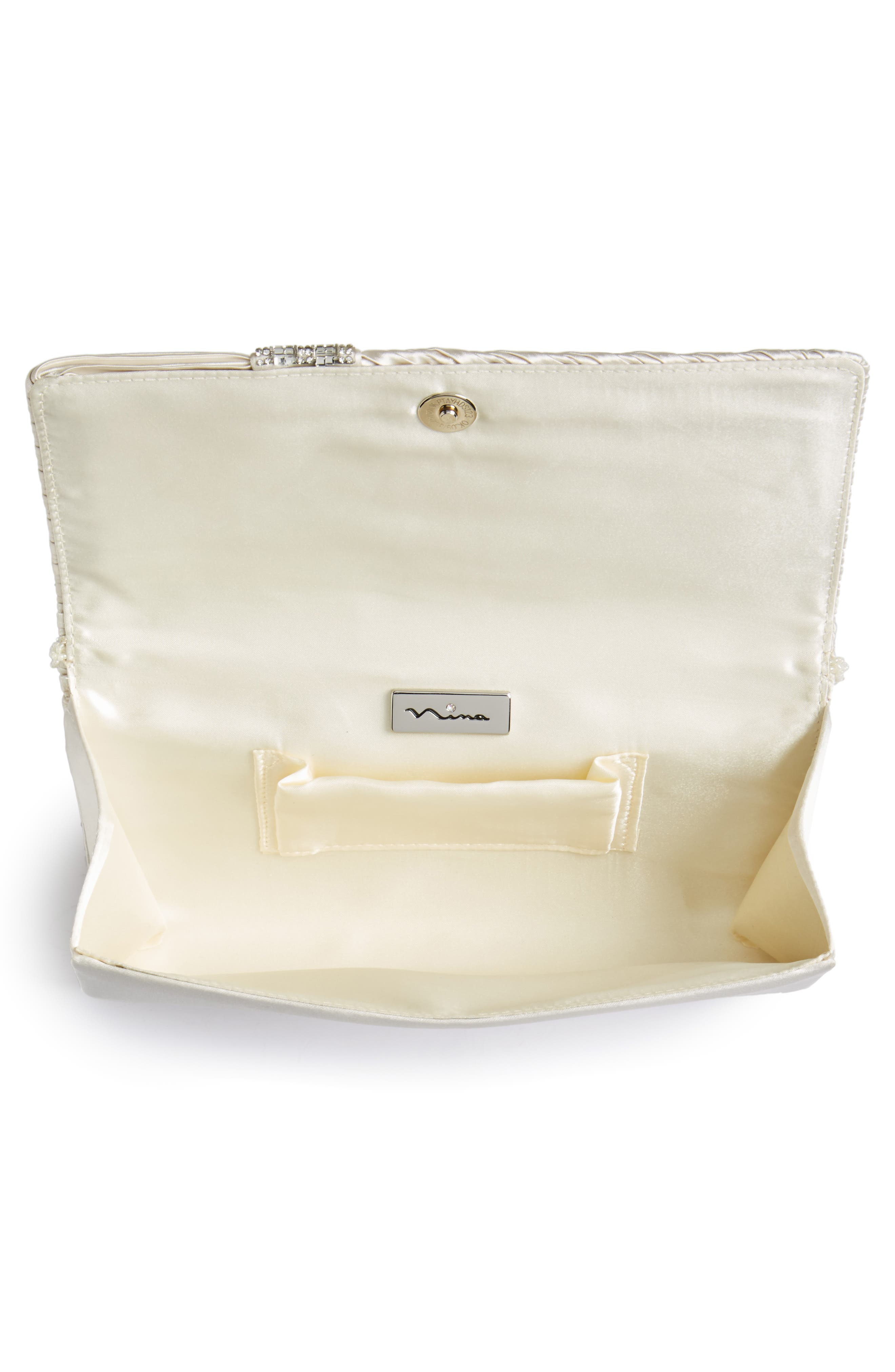 Daylie Pleated Satin Clutch,                             Alternate thumbnail 4, color,                             Ivory