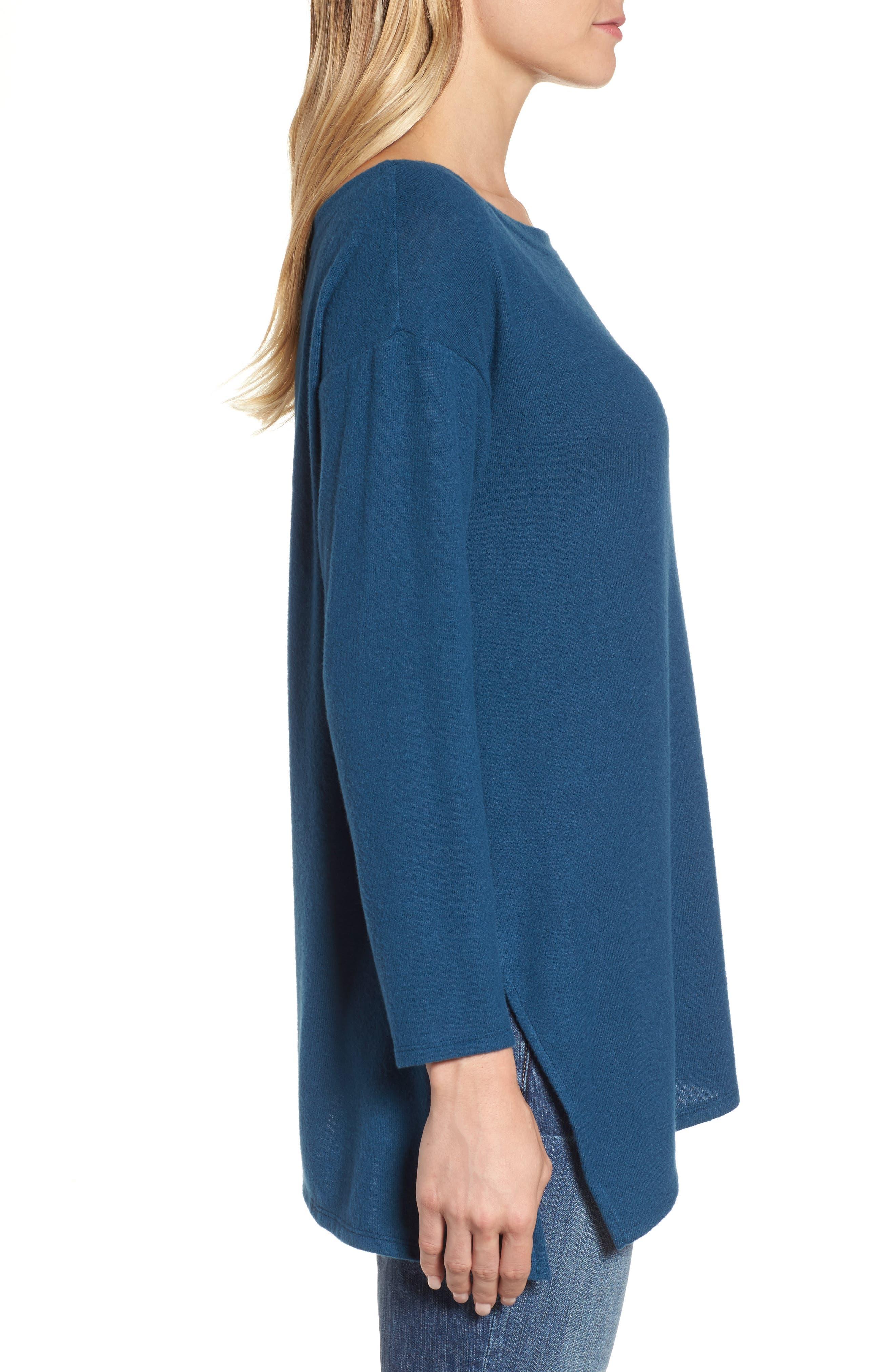 Asymmetrical Cozy Fleece Convertible Top,                             Alternate thumbnail 3, color,                             Blue Ceramic