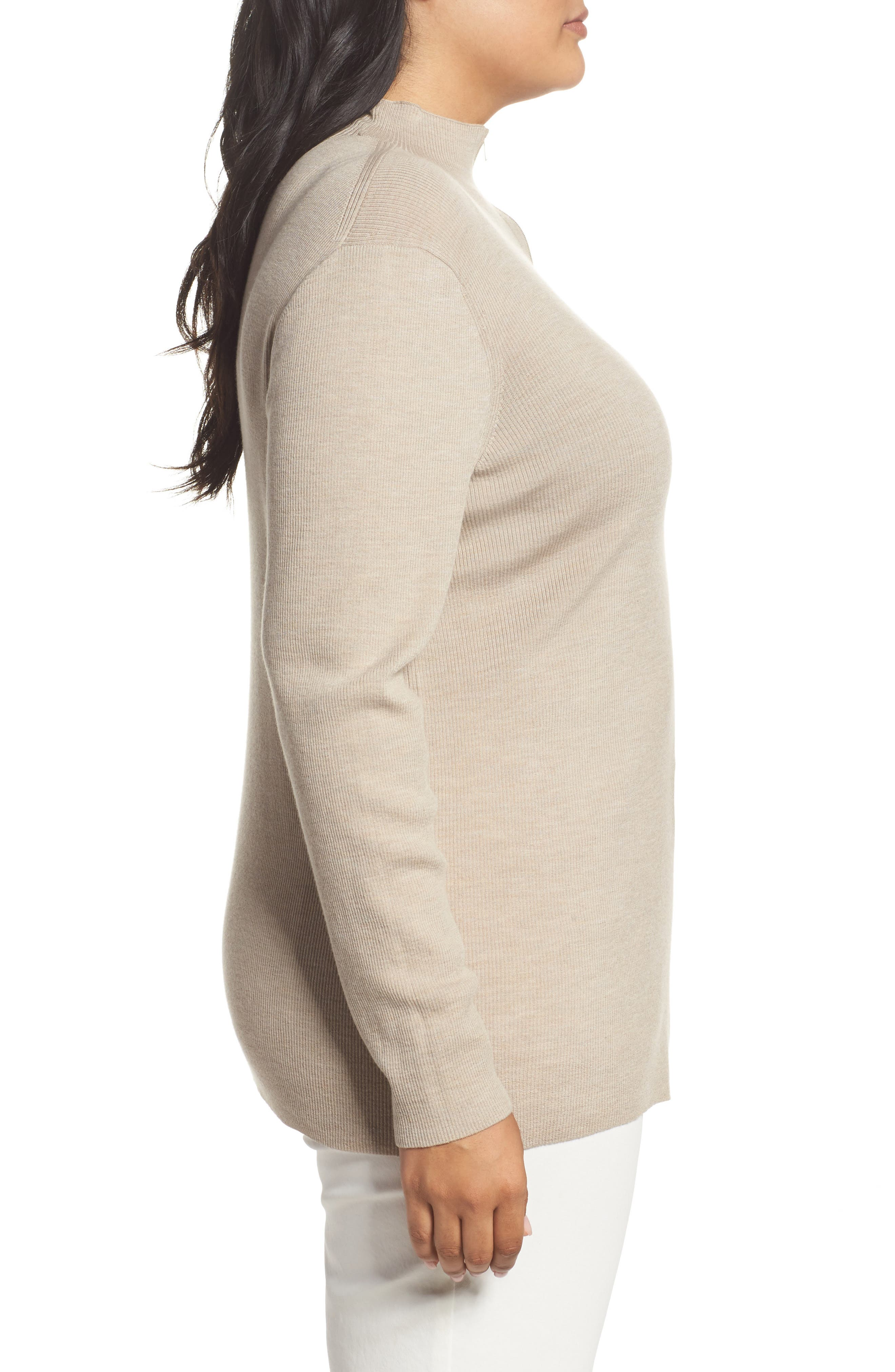 Alternate Image 3  - Lafayette 148 New York Skinny Ribbed Pullover (Plus Size)