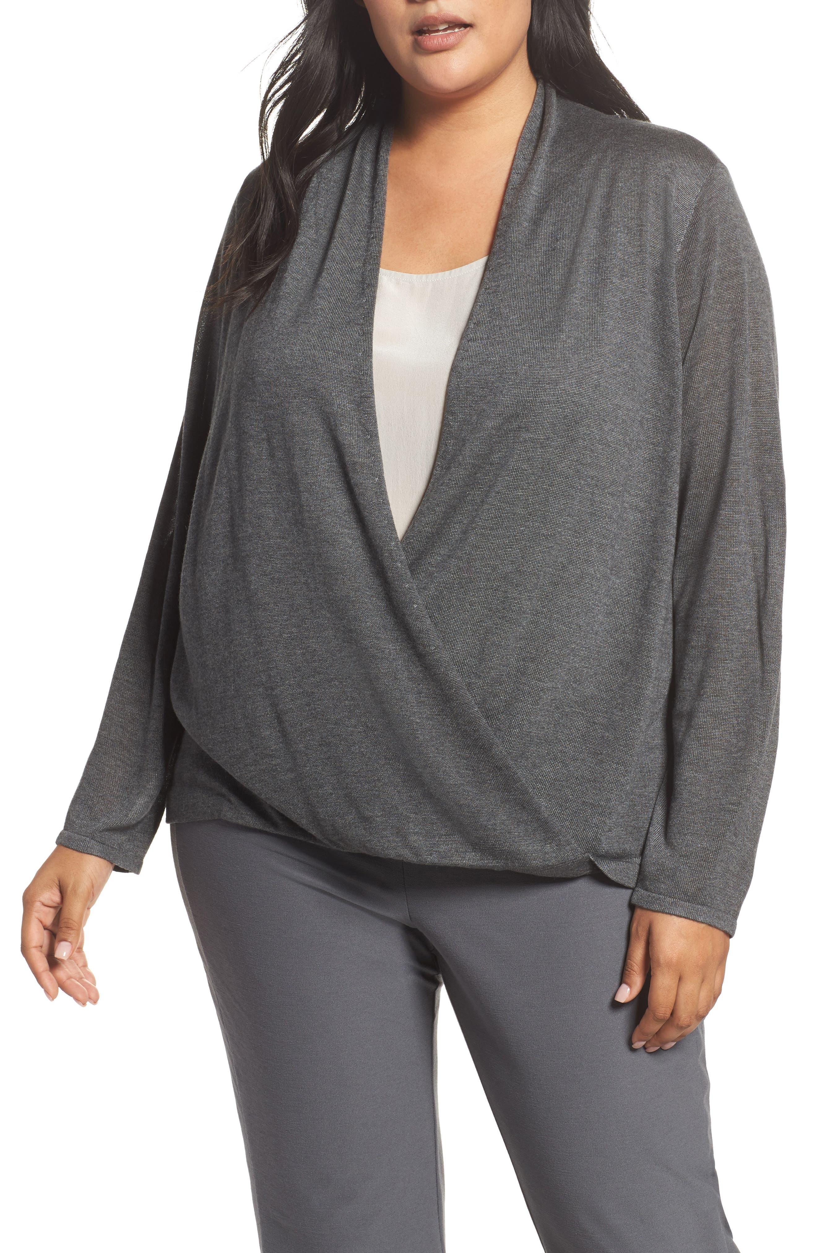 Faux Wrap Tencel<sup>®</sup> Lyocell & Merino Wool Sweater,                         Main,                         color, Ash