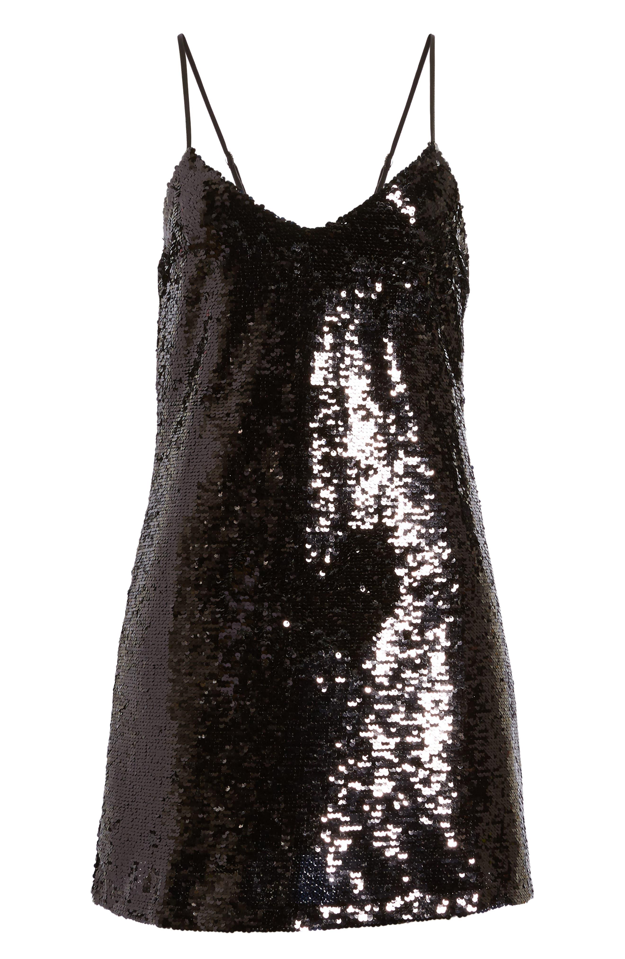 Bigby Sequin Slipdress,                             Alternate thumbnail 6, color,                             Black