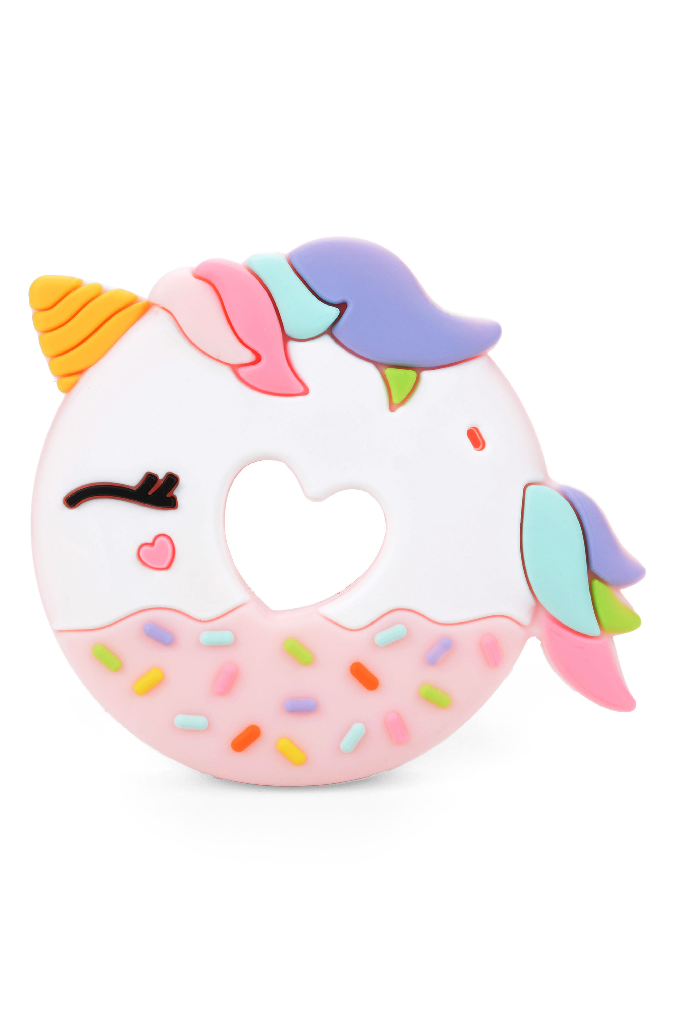 Unicorn Donut Teething Toy,                             Main thumbnail 1, color,                             Pink