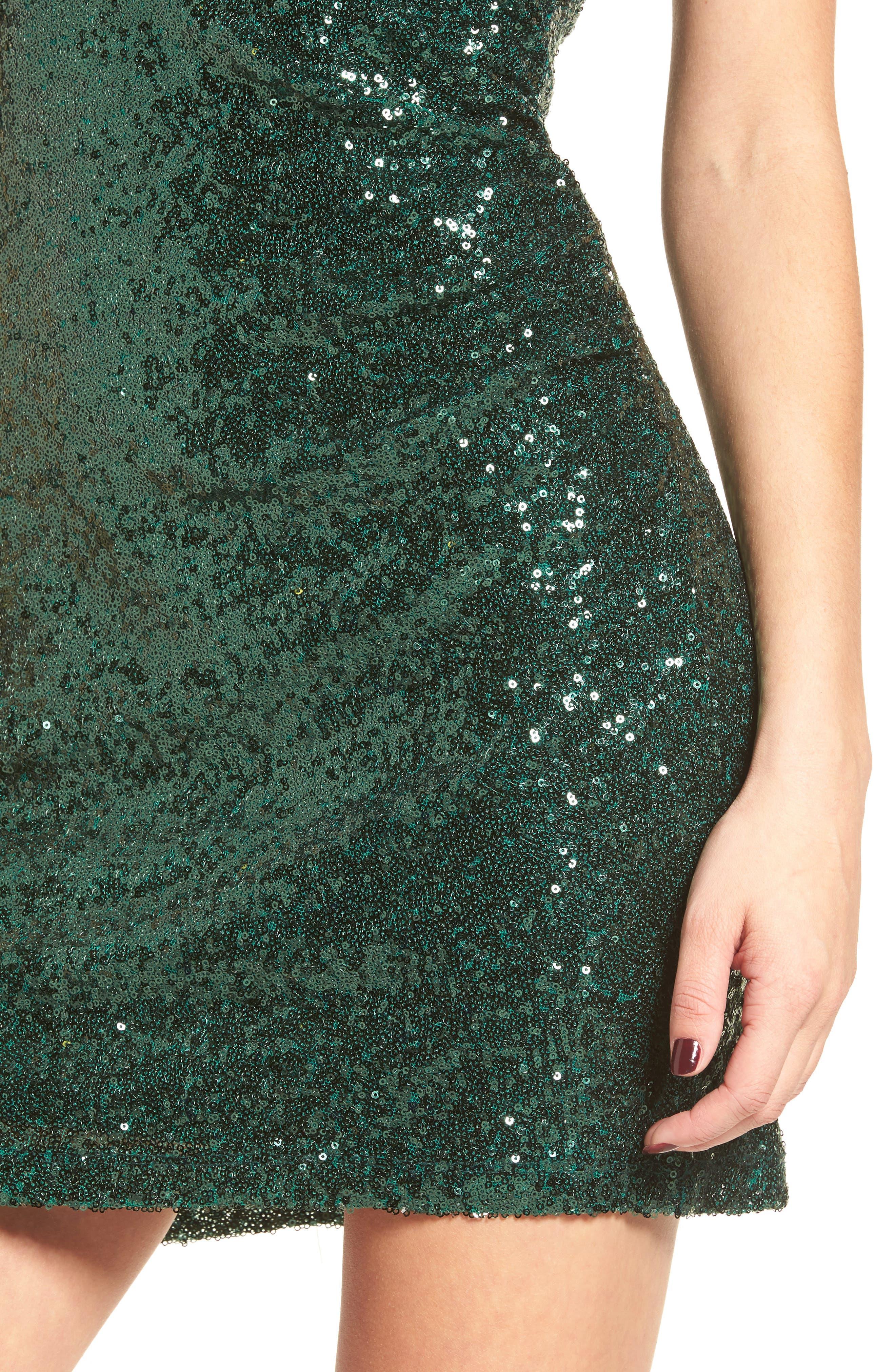 Sequin Cutout Dress,                             Alternate thumbnail 4, color,                             Ivy
