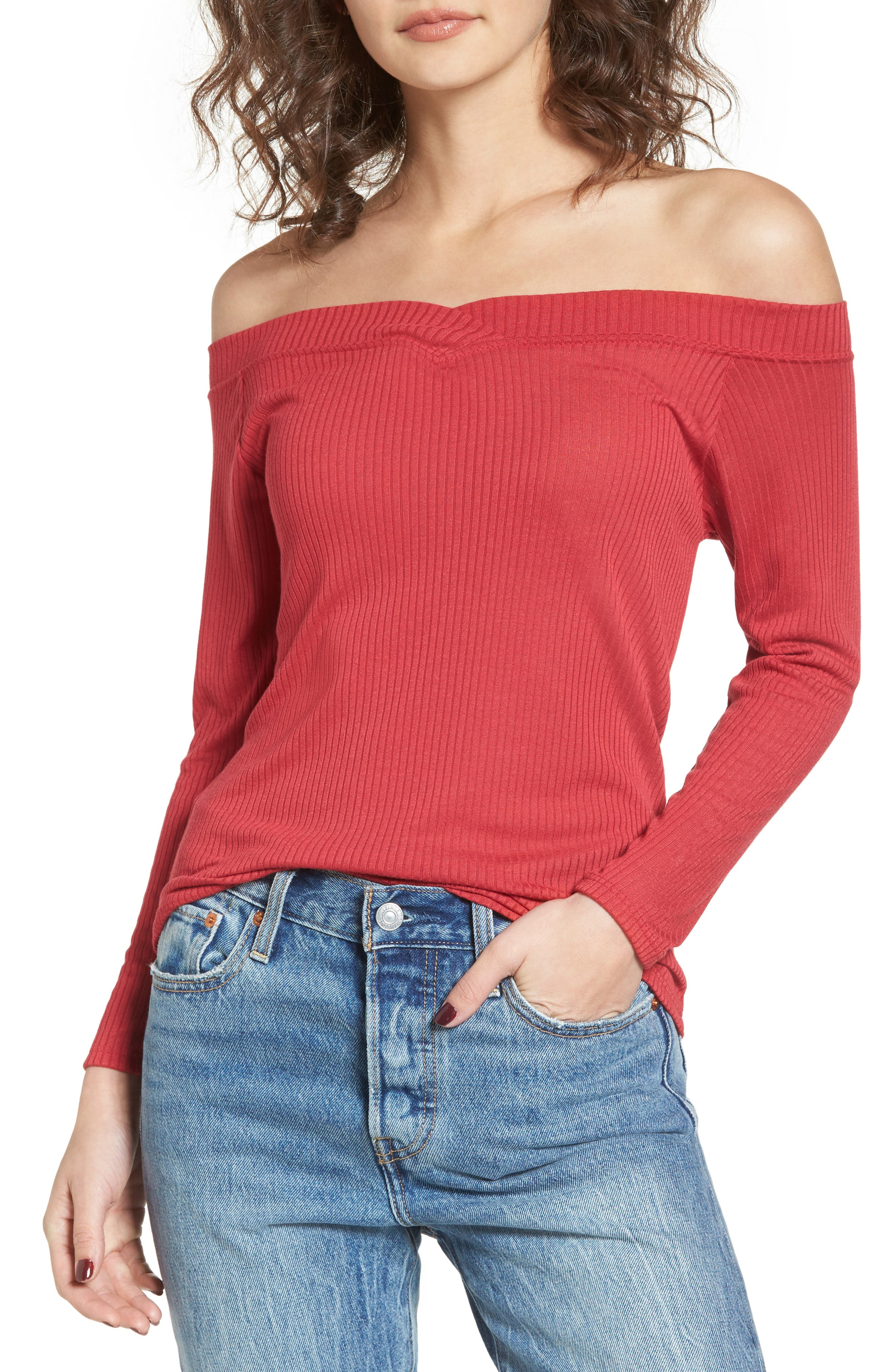 Union Street Off the Shoulder Top,                         Main,                         color, Red