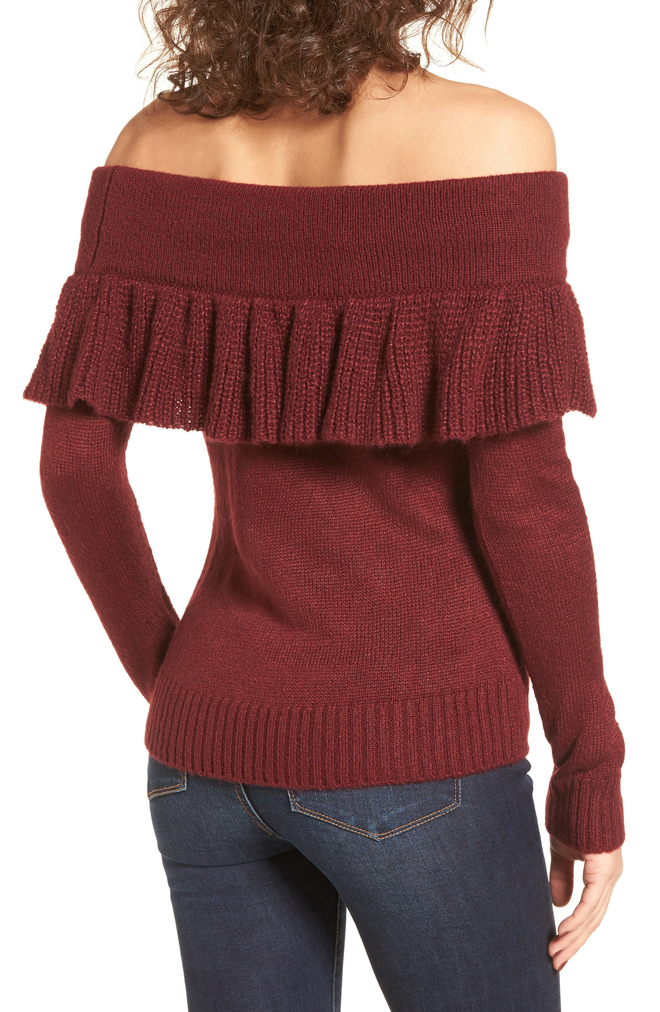 Sheldon Off the Shoulder Sweater,                             Alternate thumbnail 2, color,                             Red Tannin
