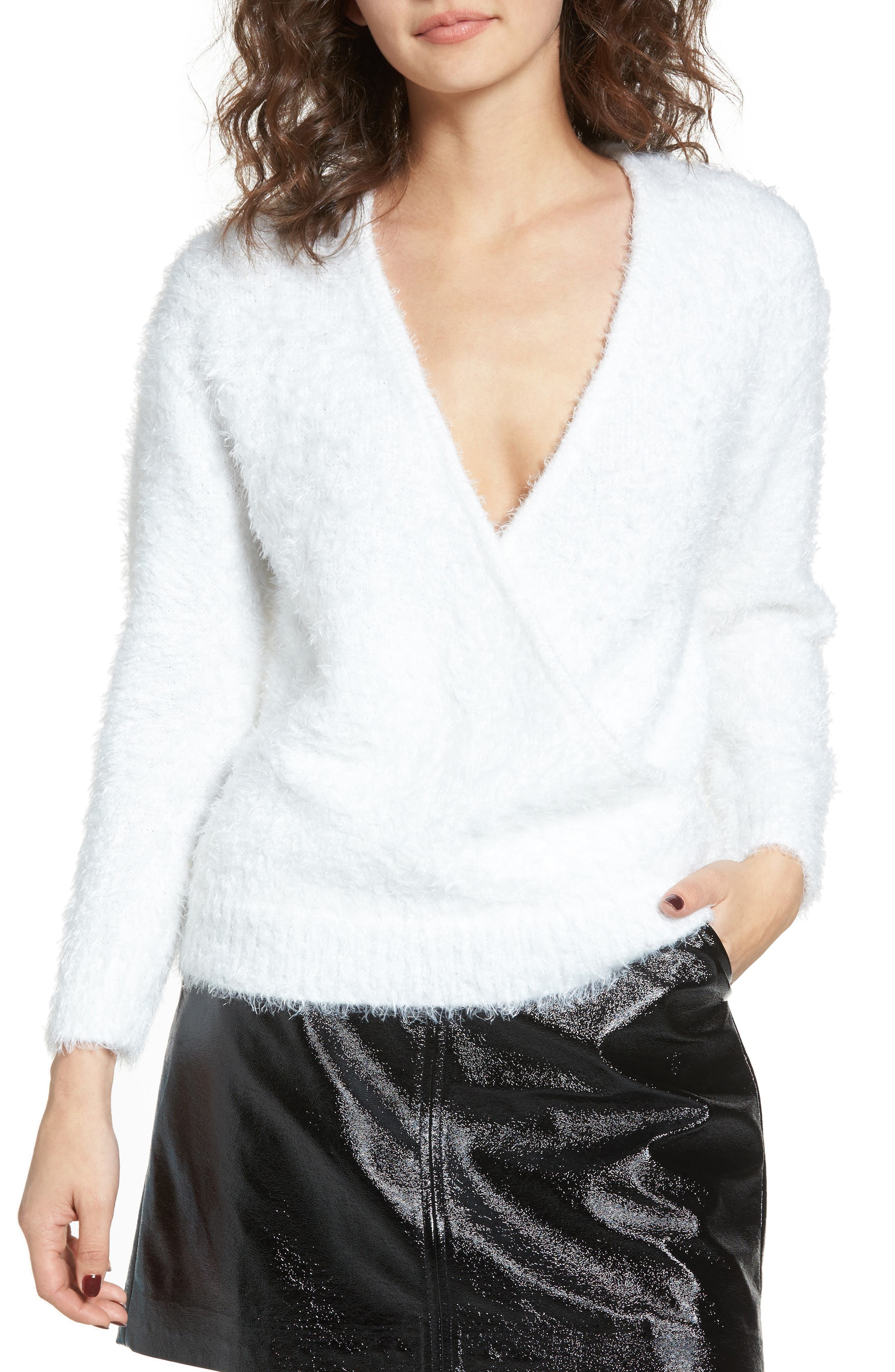 WAYF Fuzzy Surplice Sweater