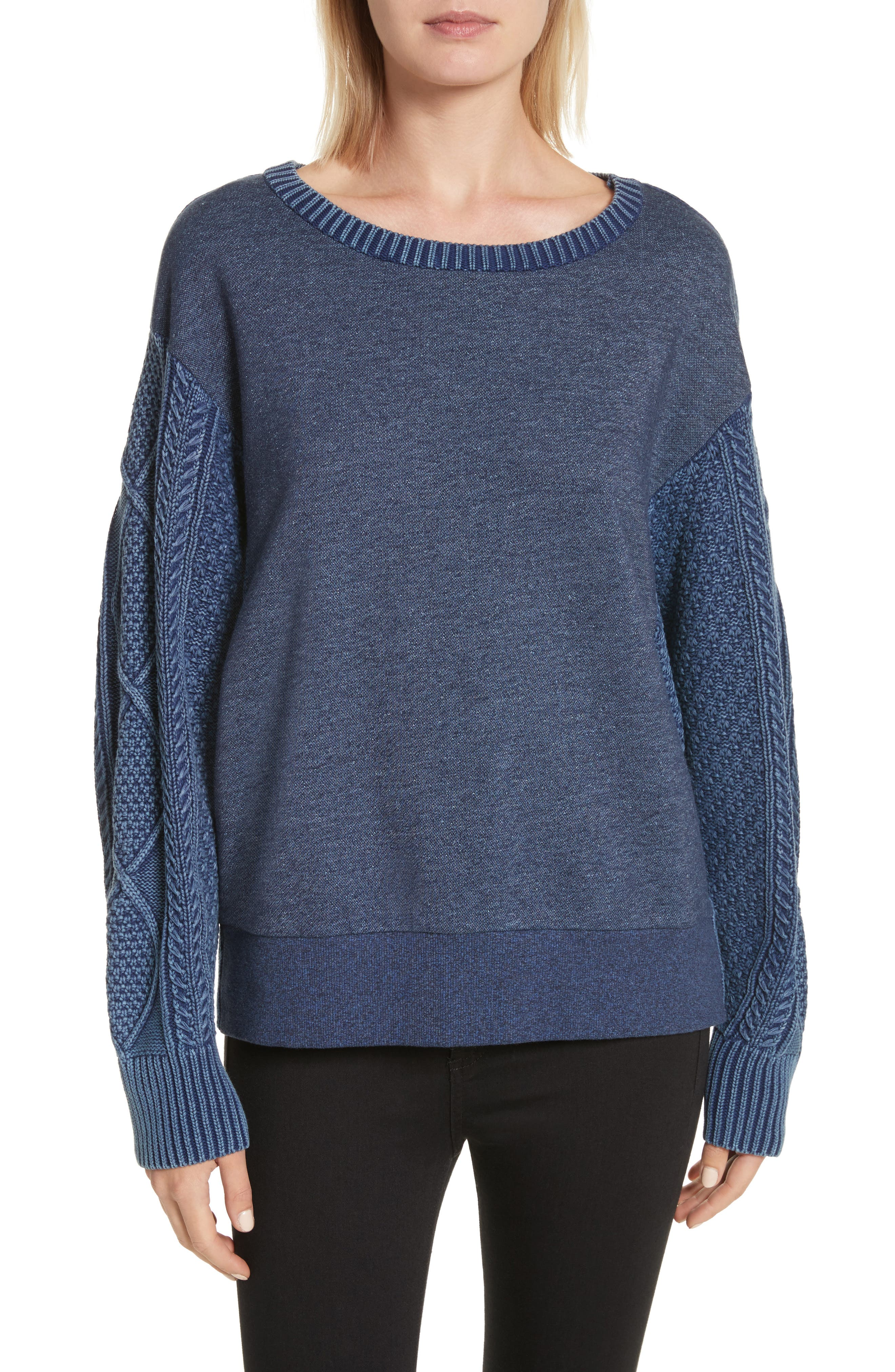 Harper Cable Knit Sweater,                             Main thumbnail 1, color,                             Indigo