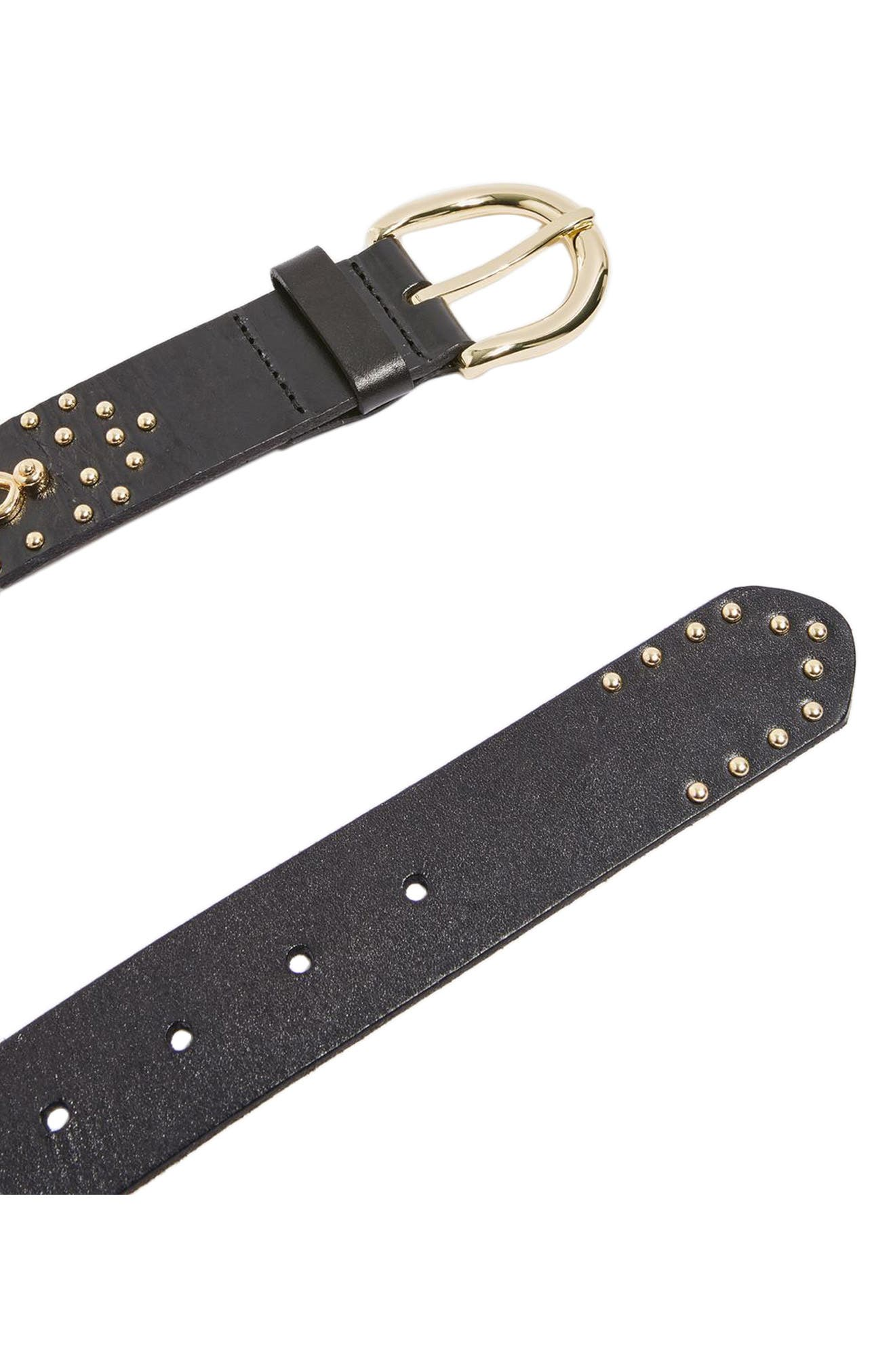 Ellena Circle & Stud Embellished Leather Belt,                             Alternate thumbnail 3, color,                             Black