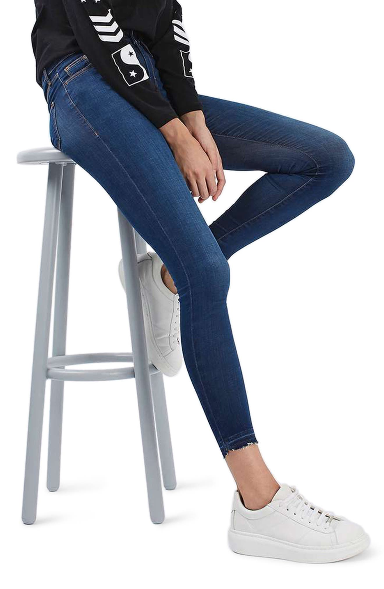 Leigh Released Hem Skinny Jeans,                             Alternate thumbnail 3, color,                             Indigo