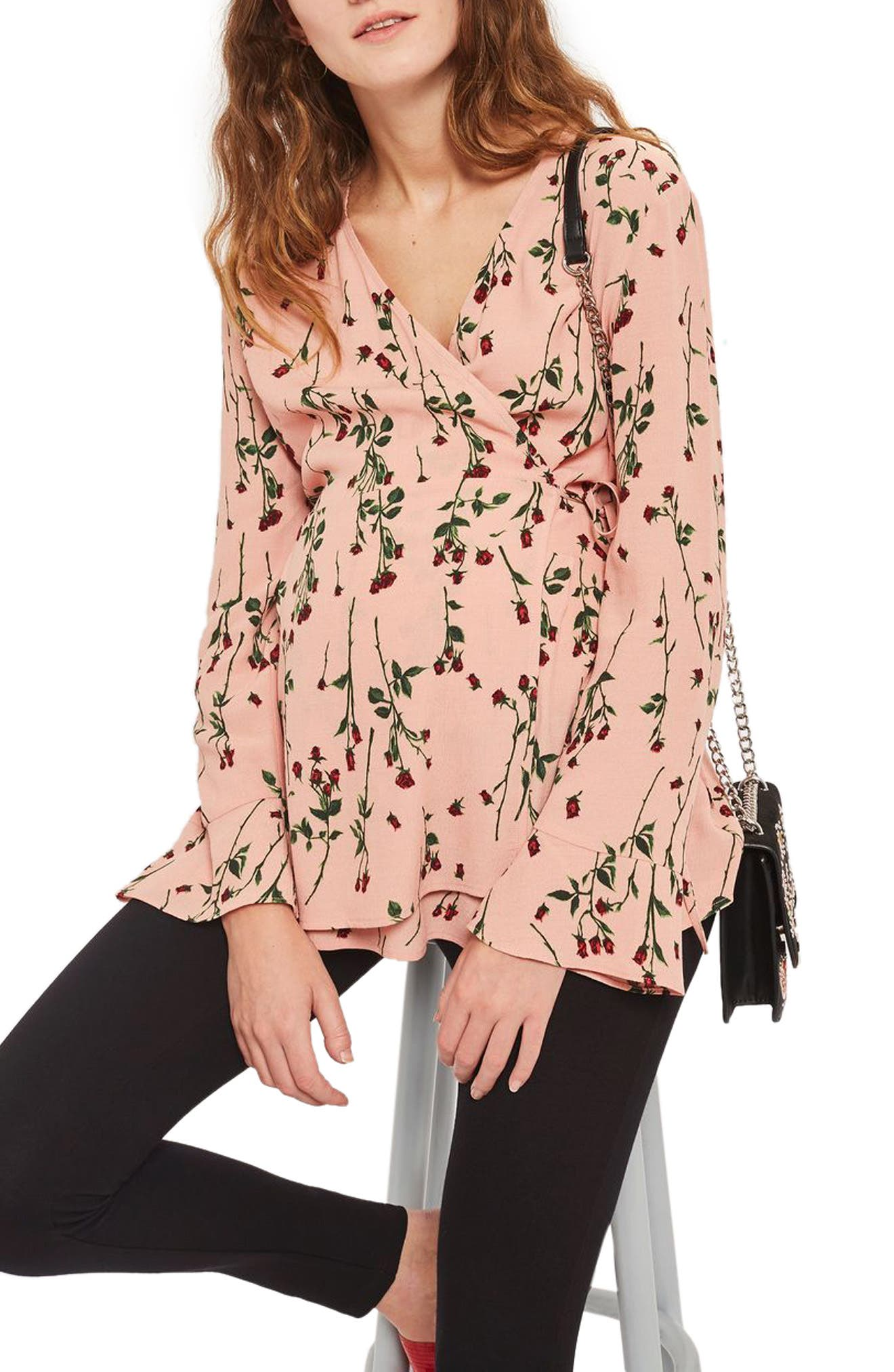 Topshop Rose Bud Wrap Maternity Blouse