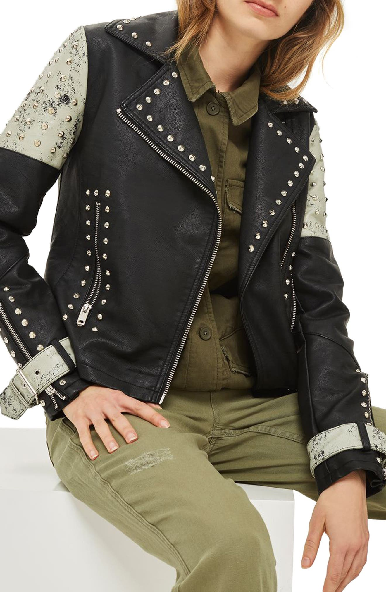 Maddox Painted & Studded Faux Leather Jacket,                             Alternate thumbnail 4, color,                             Black Multi