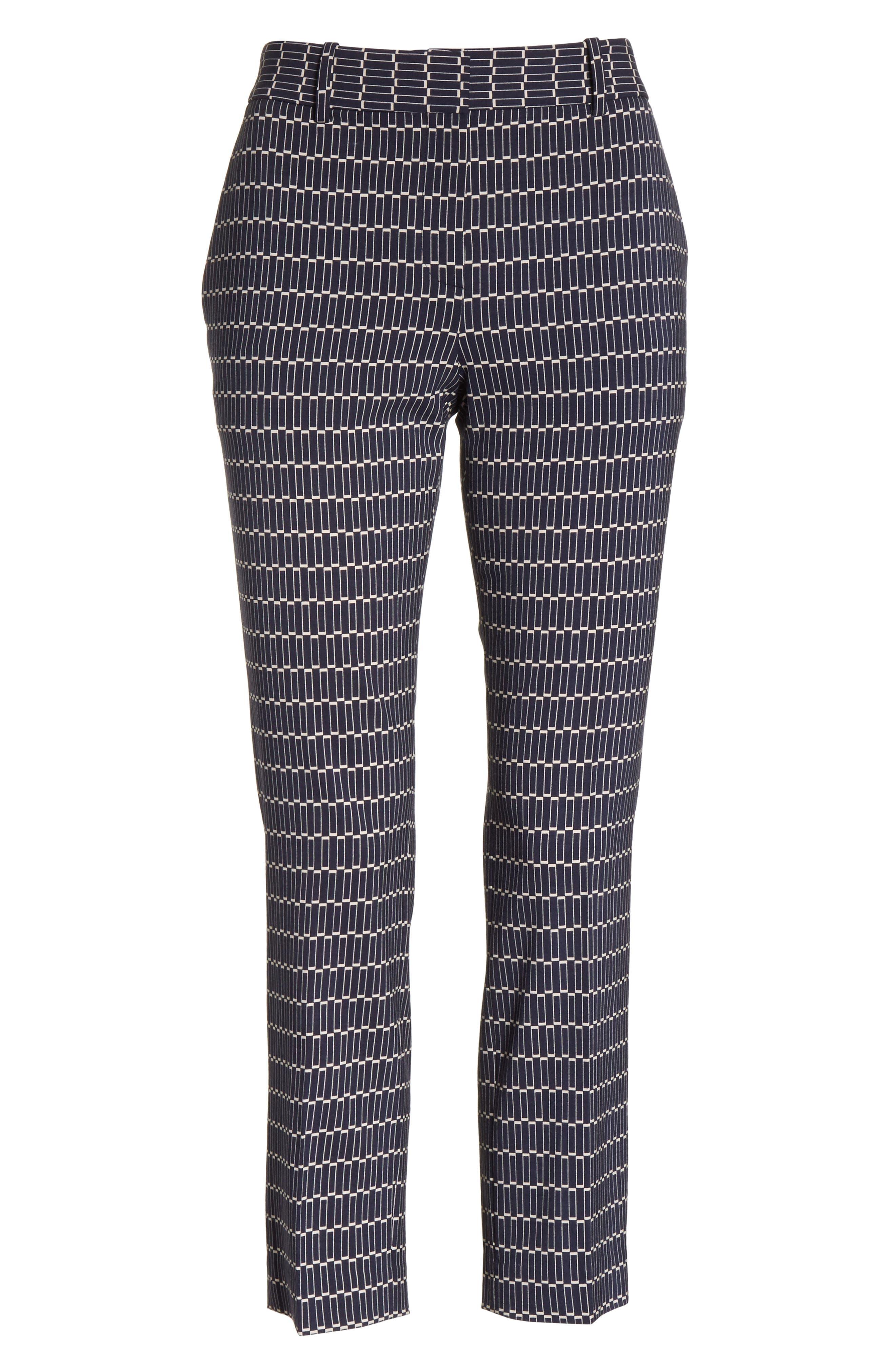 Treeca Stretch Wool Cigarette Pants,                             Alternate thumbnail 7, color,                             Deep Navy
