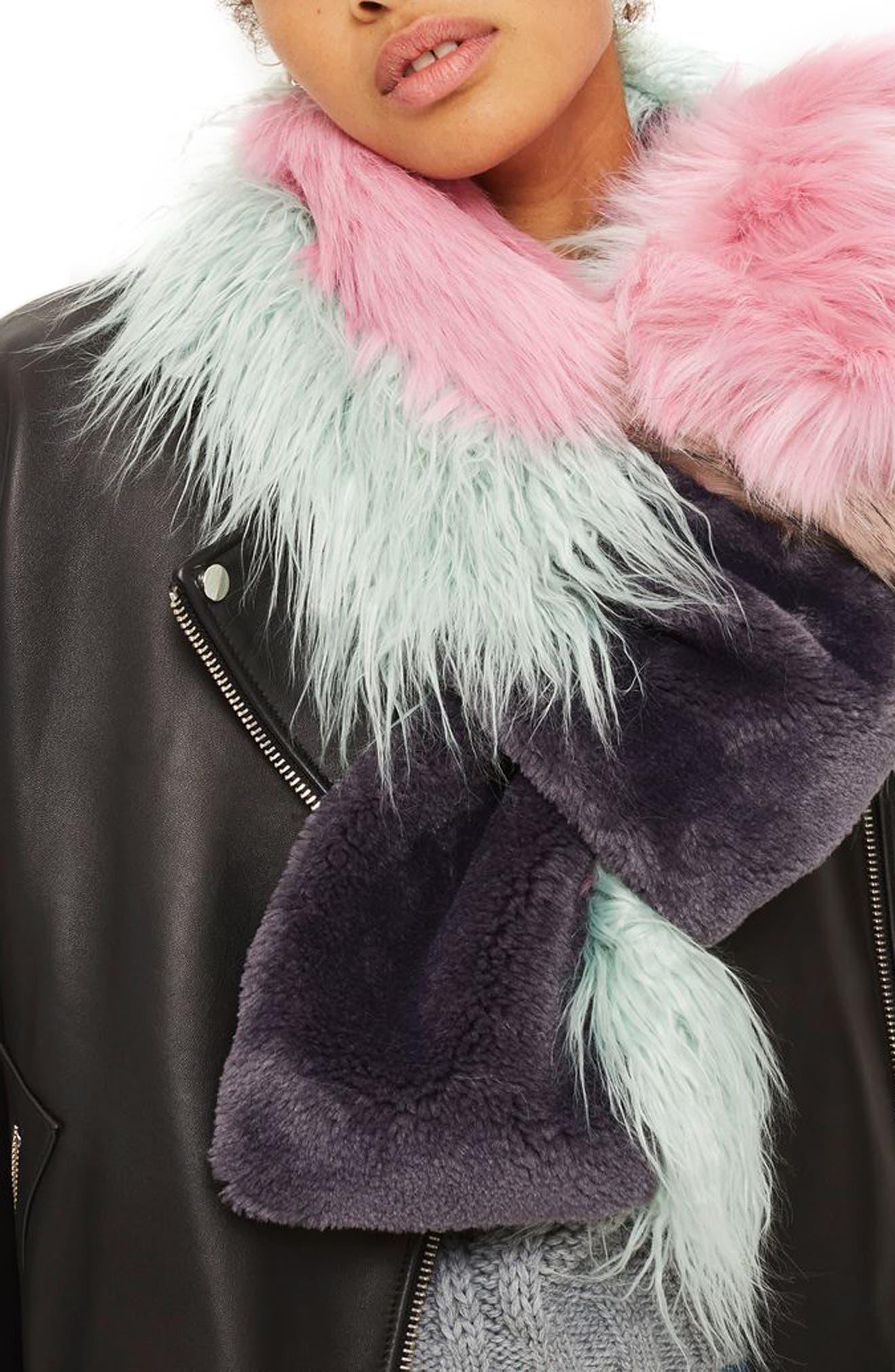 Topshop Zeus Faux Fur Patchwork Scarf