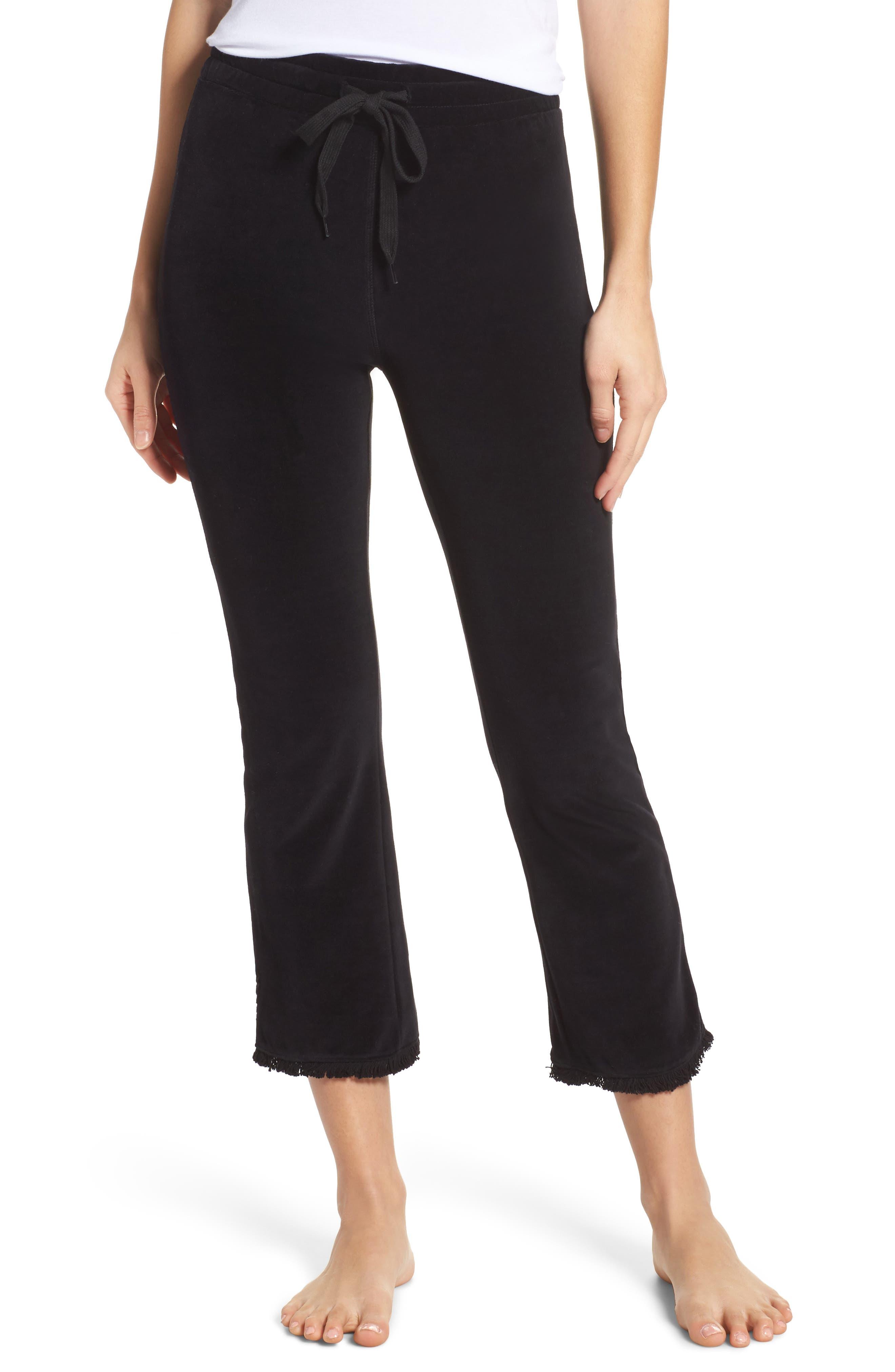 Crop Velour Lounge Pants,                             Main thumbnail 1, color,                             Black