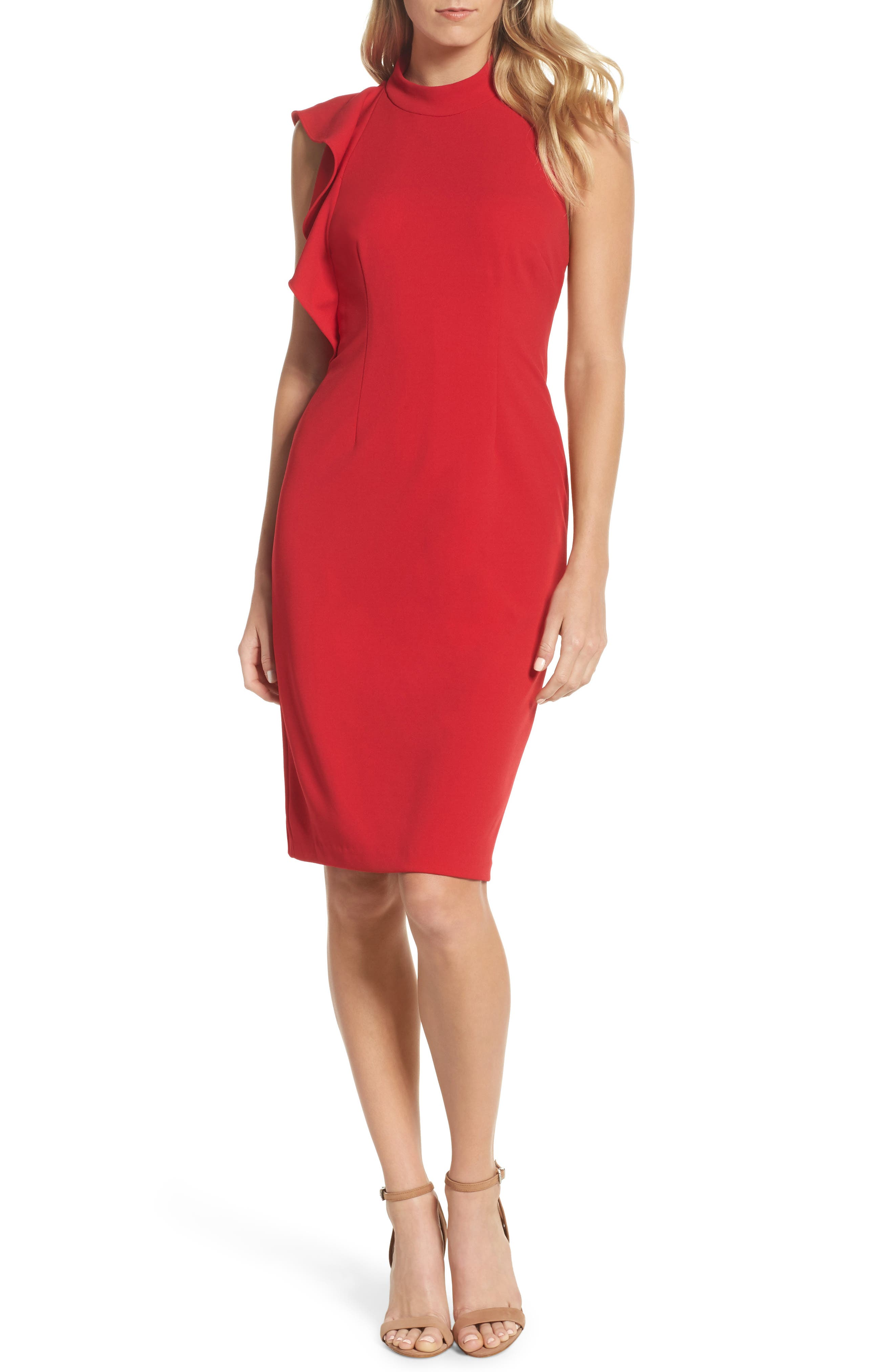 Ruffle Crepe Halter Dress,                         Main,                         color, Red