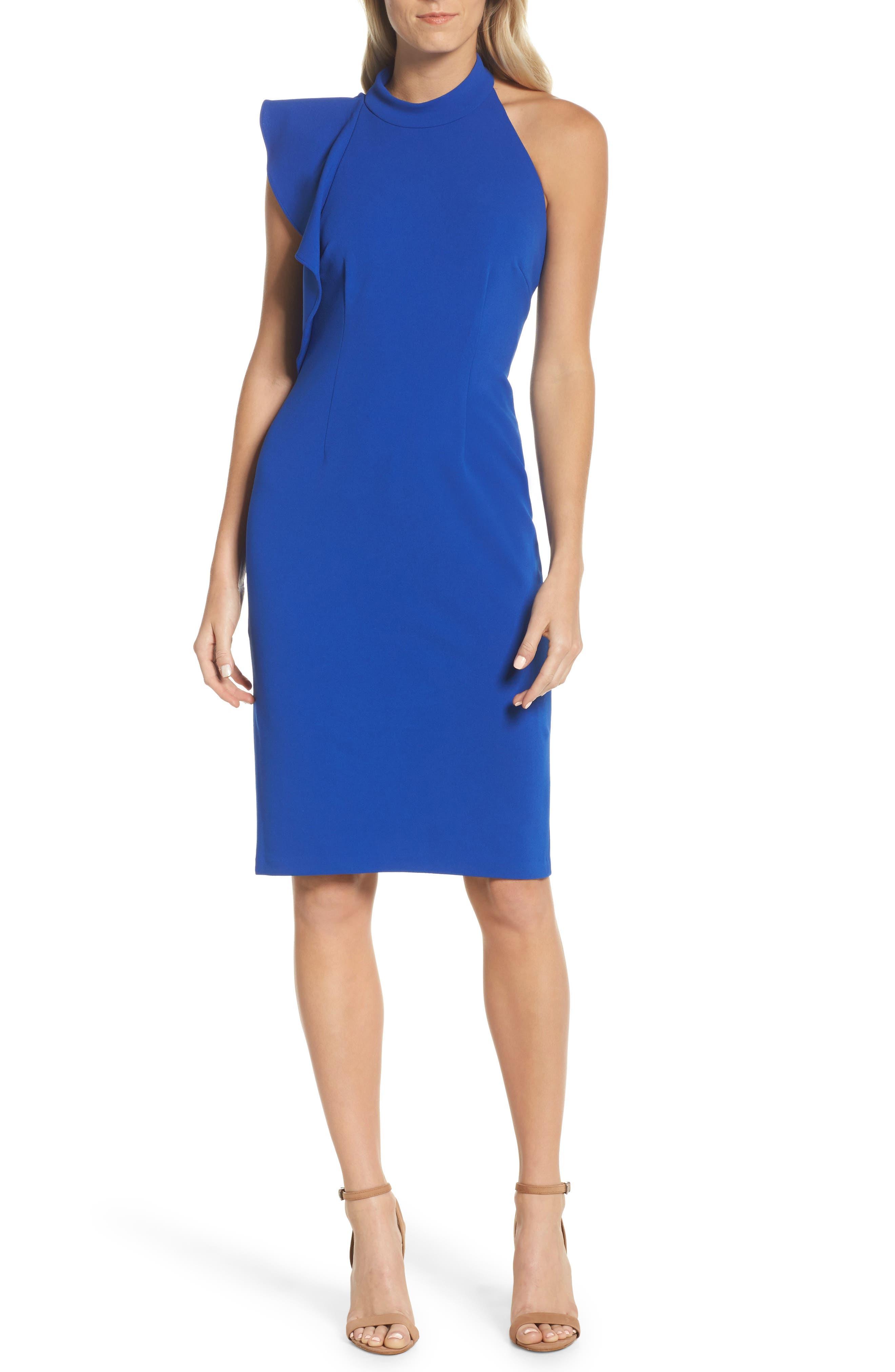Ruffle Crepe Halter Dress,                         Main,                         color, Royal