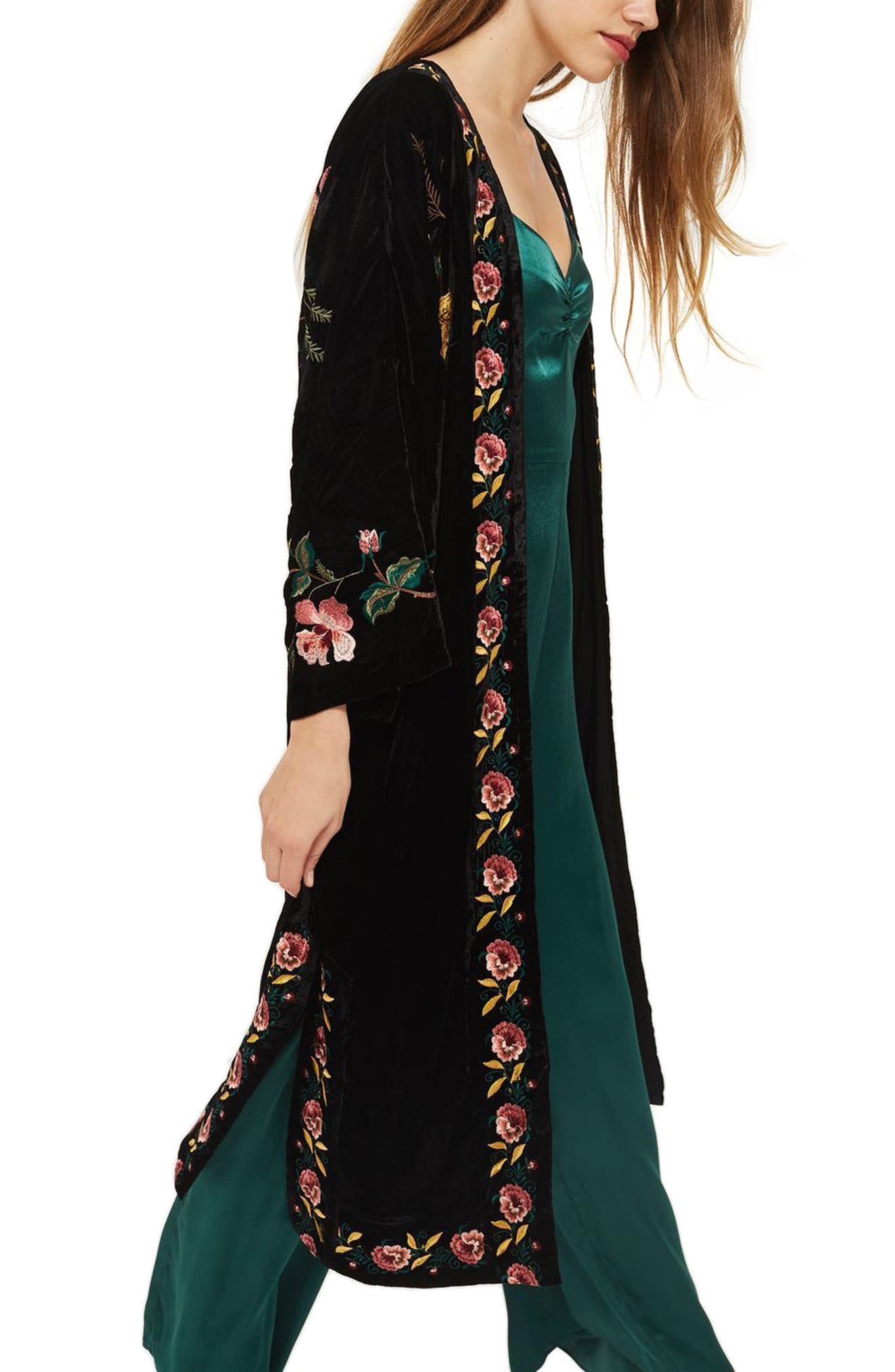 Floral Embroidered Velvet Kimono,                             Alternate thumbnail 4, color,                             Black Multi