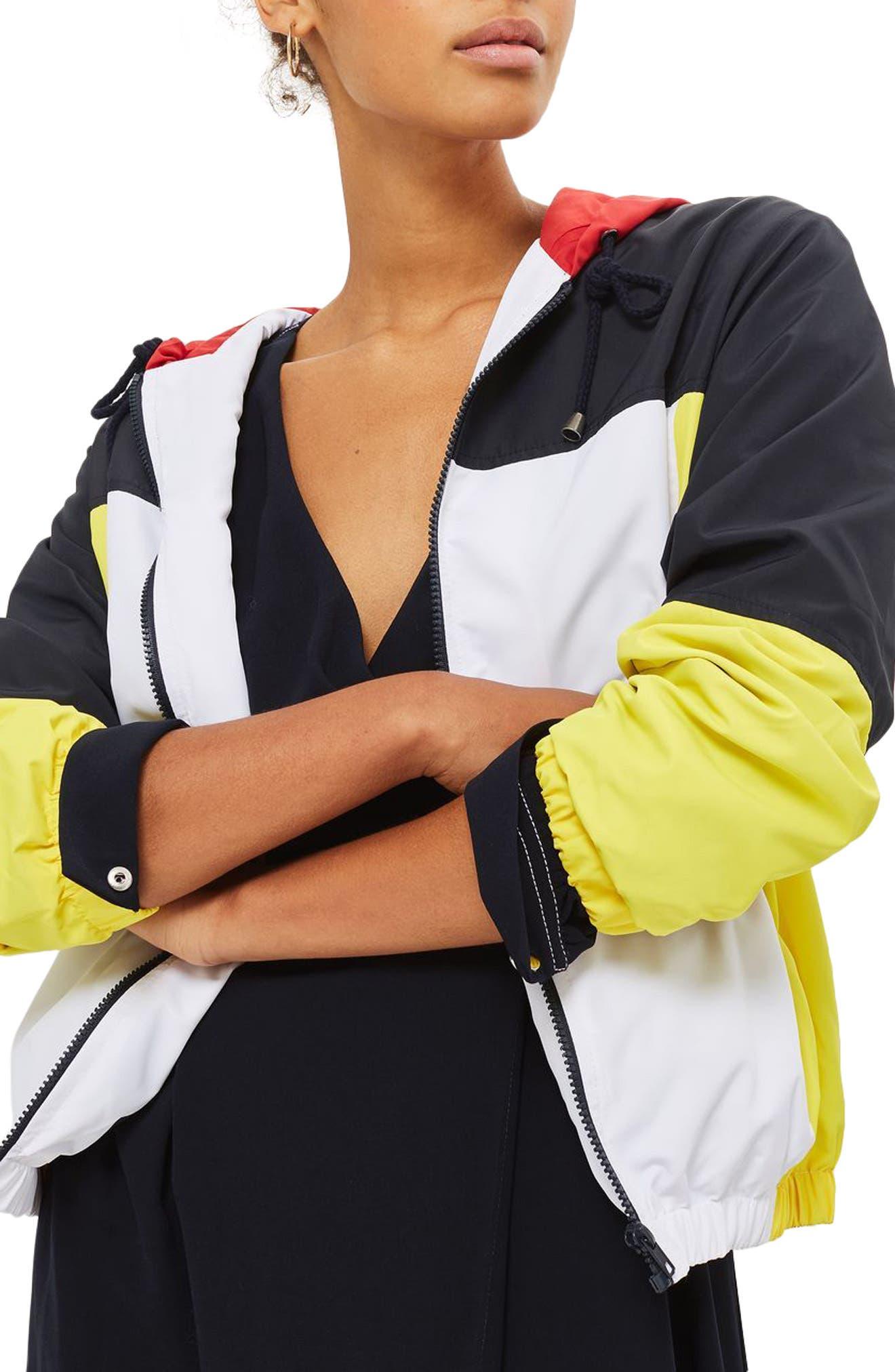 Topshop Colorblock Windbreaker Jacket