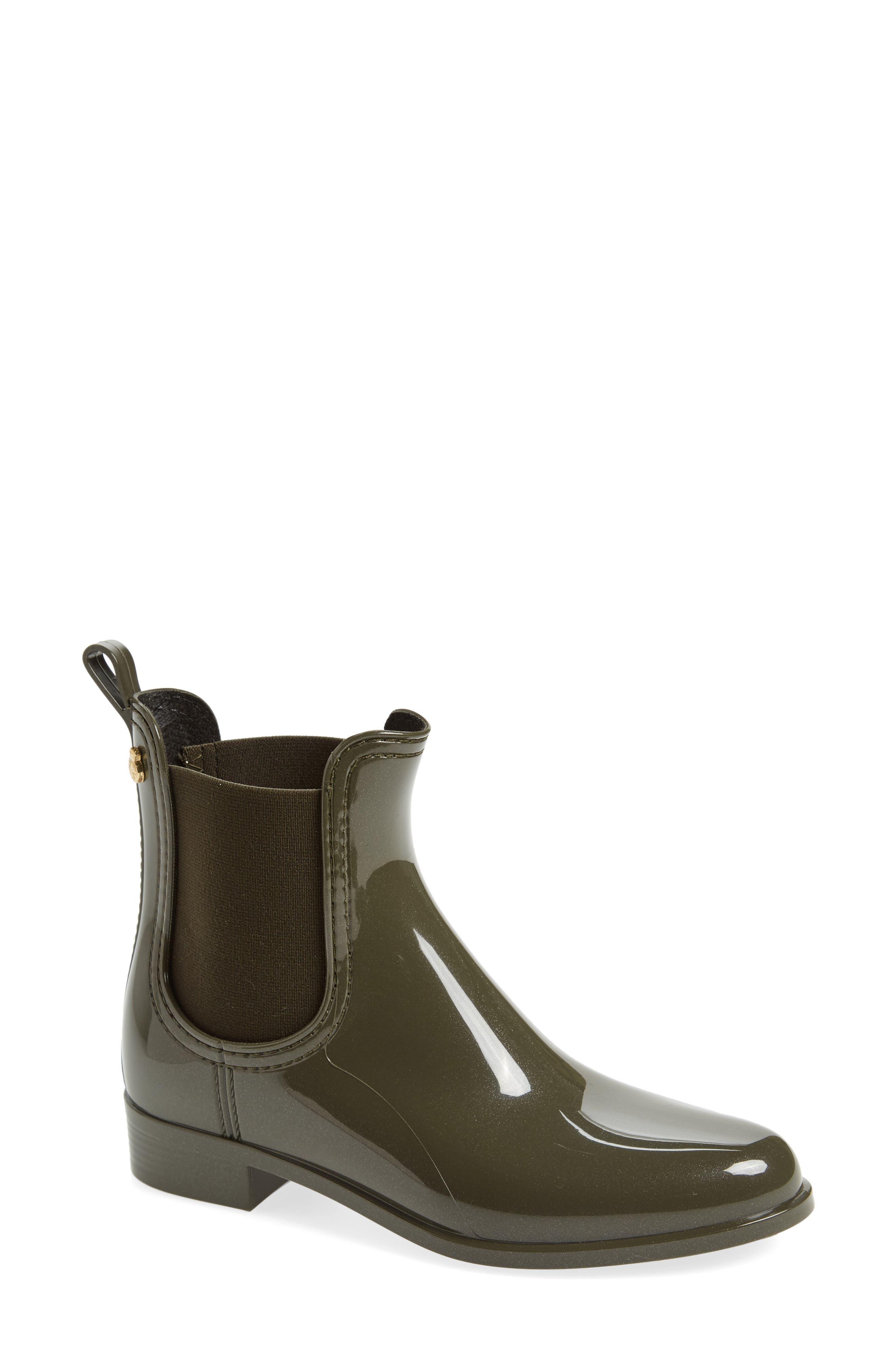 Comfy Waterproof Chelsea Boot,                             Main thumbnail 1, color,                             Metal Green Gloss