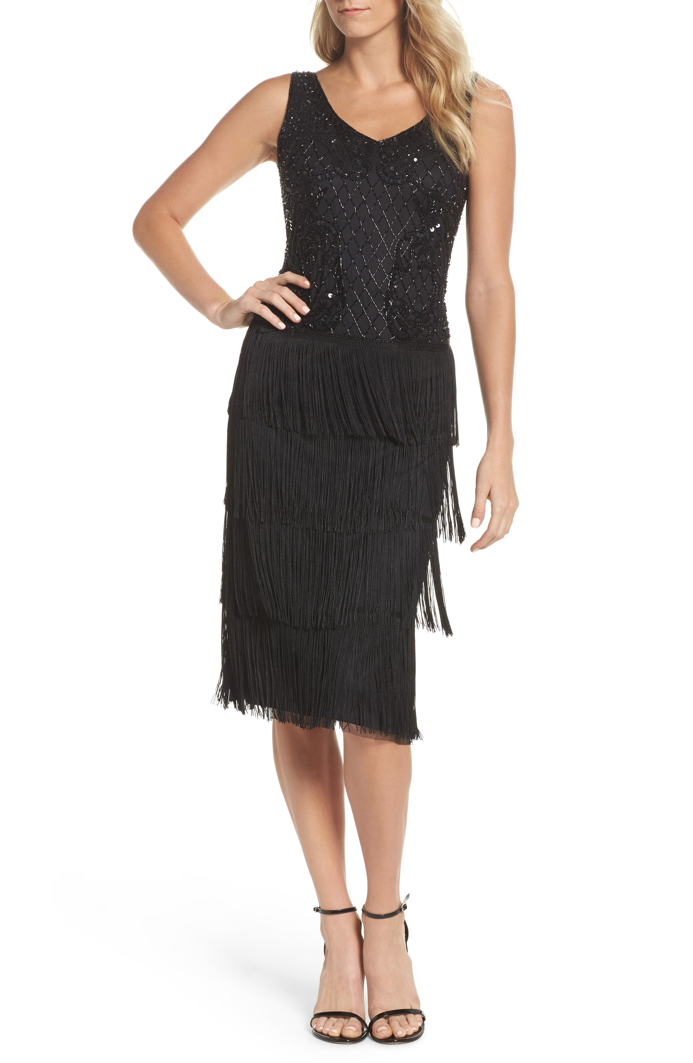 Embellished Fringe Tiered Sheath Dress,                             Main thumbnail 1, color,                             Black