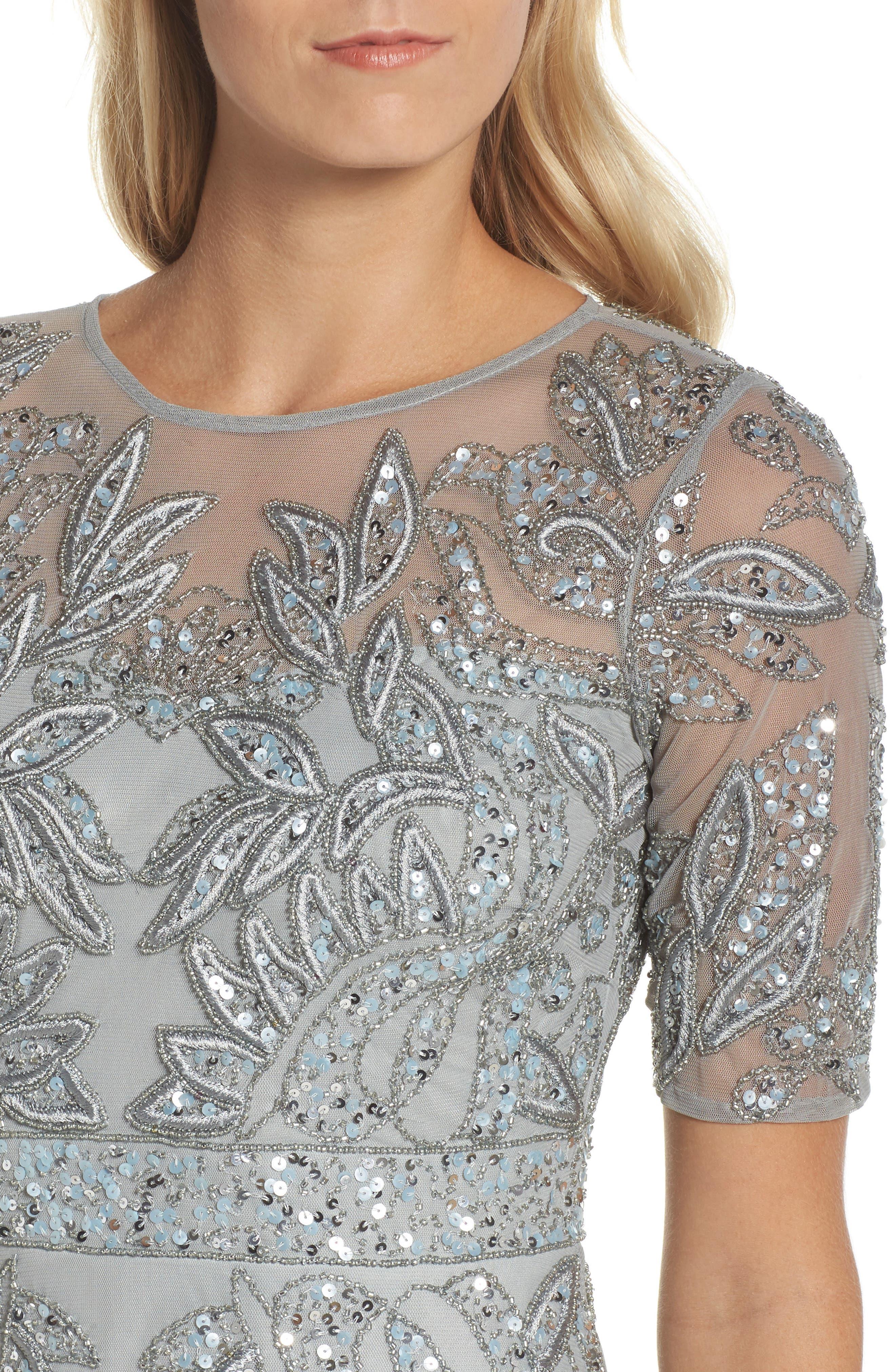 Embellished Mesh Gown,                             Alternate thumbnail 4, color,                             Blue Mist
