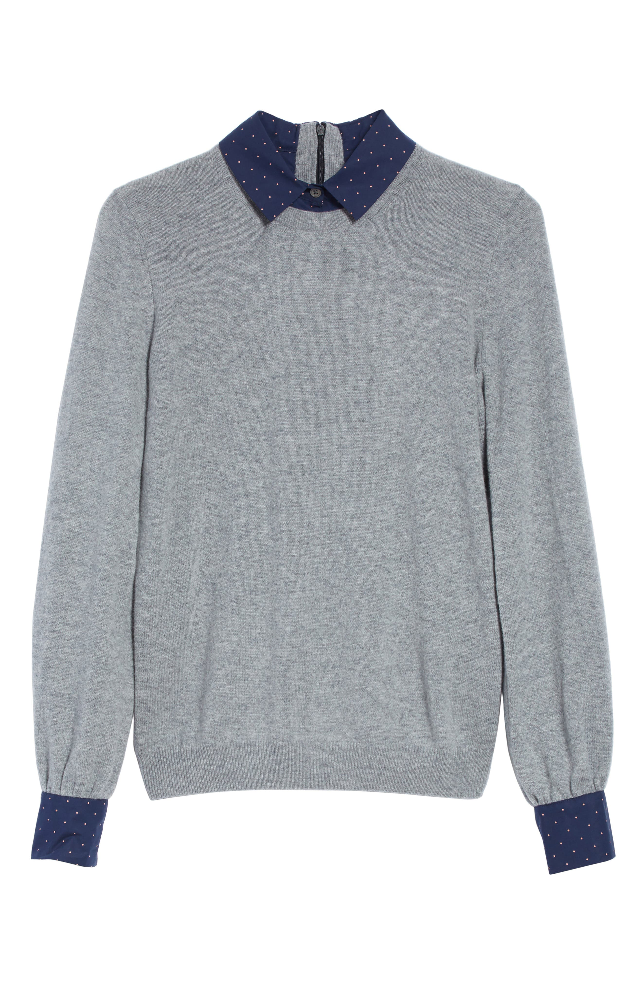 Bahiti Woven Trim Wool & Cashmere Sweater,                             Alternate thumbnail 6, color,                             Heather Grey/ Dark Navy