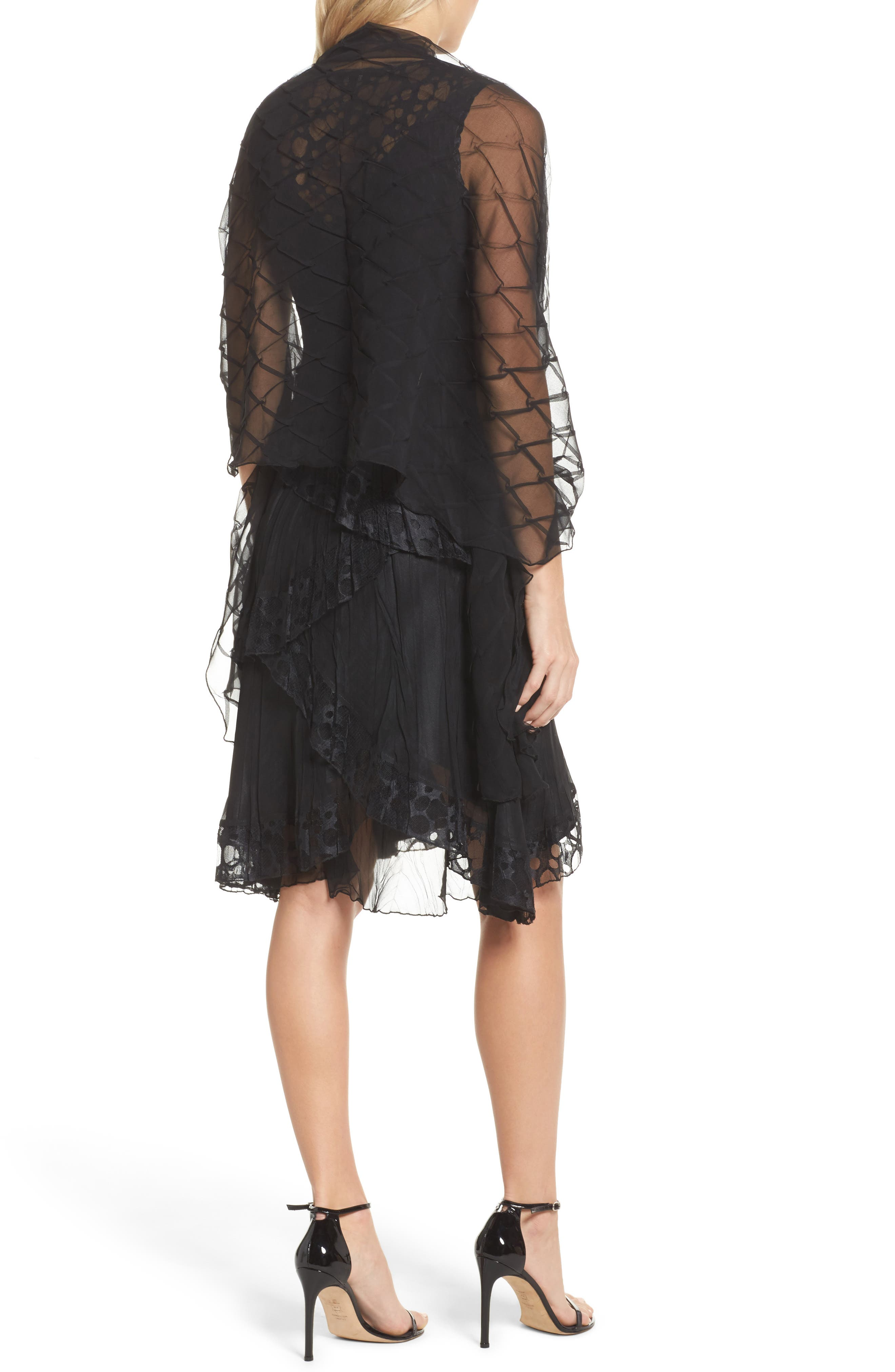 Circle Lace Tiered Dress with Wrap,                             Alternate thumbnail 3, color,                             Black
