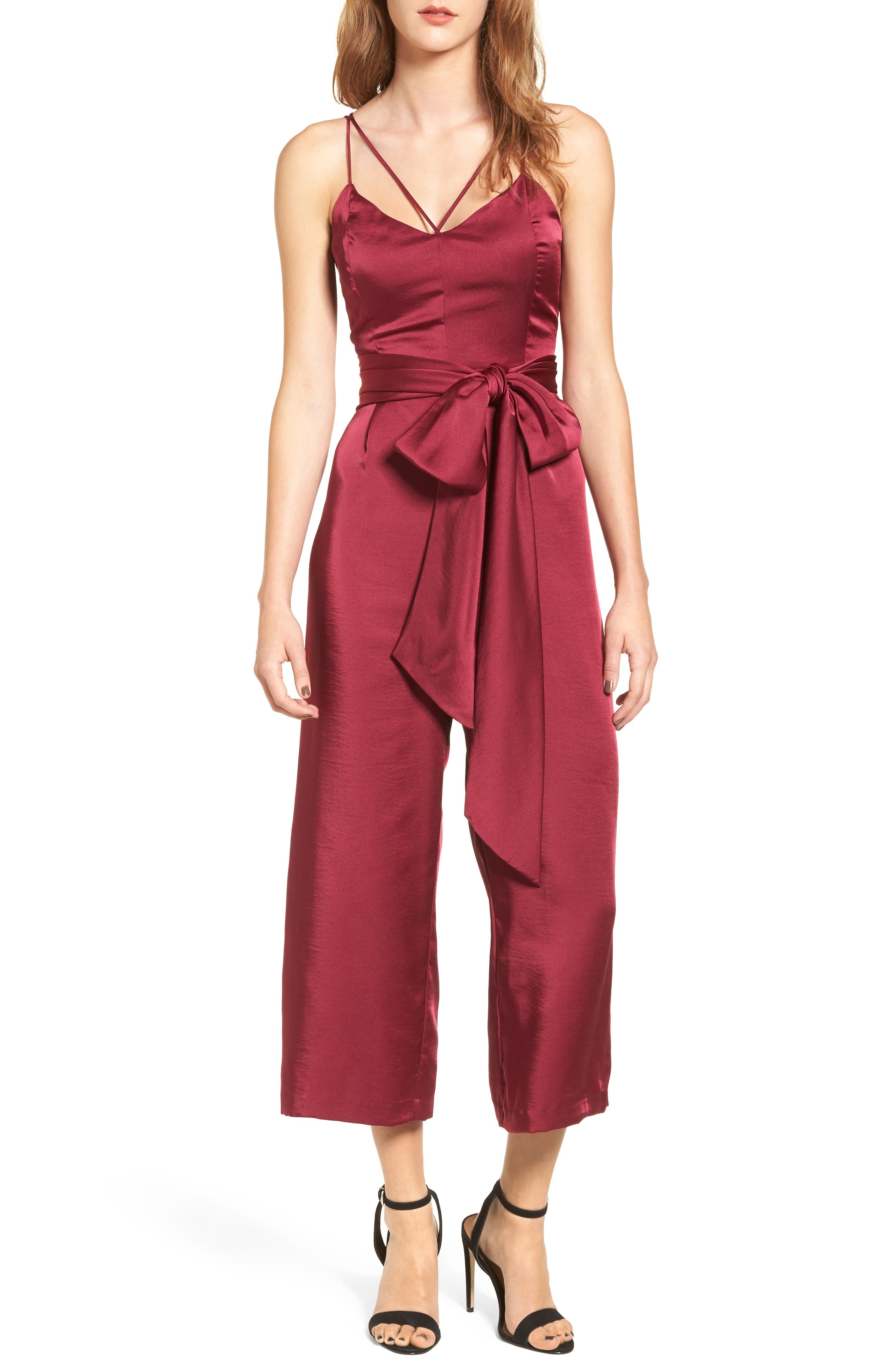 Strappy Satin Jumpsuit,                         Main,                         color, Fuchsia