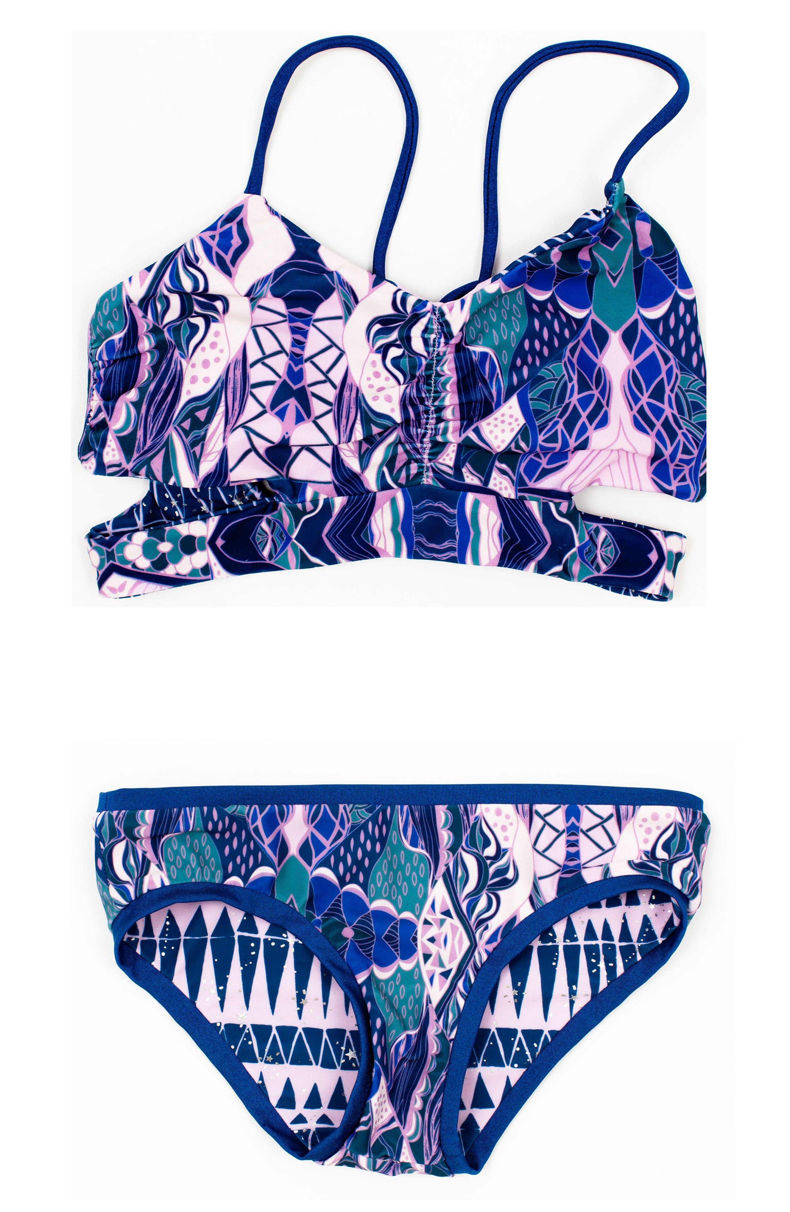 Clara Two-Piece Reversible Swimsuit,                         Main,                         color, Topaz