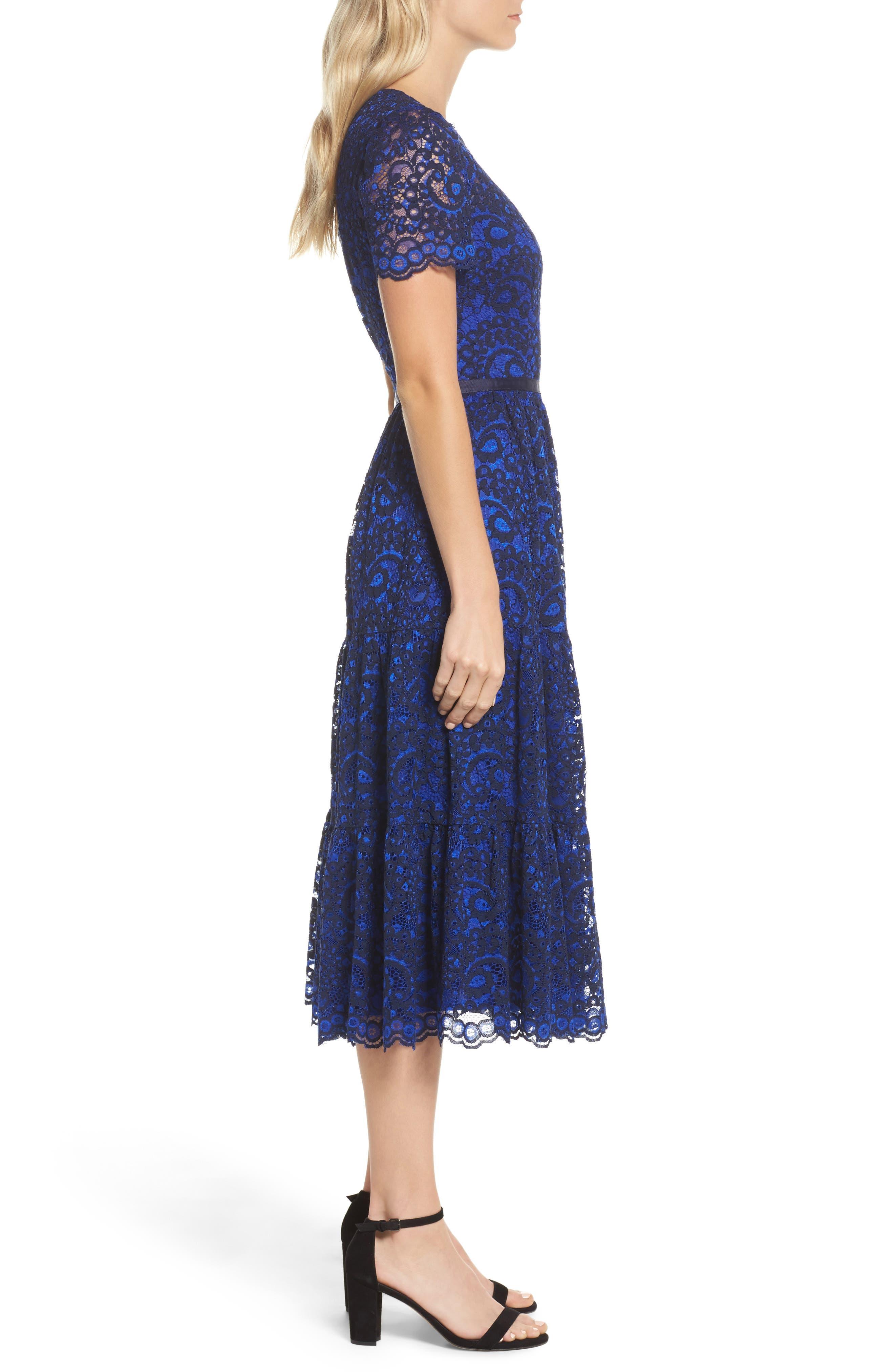 Lace Midi Dress,                             Alternate thumbnail 3, color,                             Cobalt/ Navy