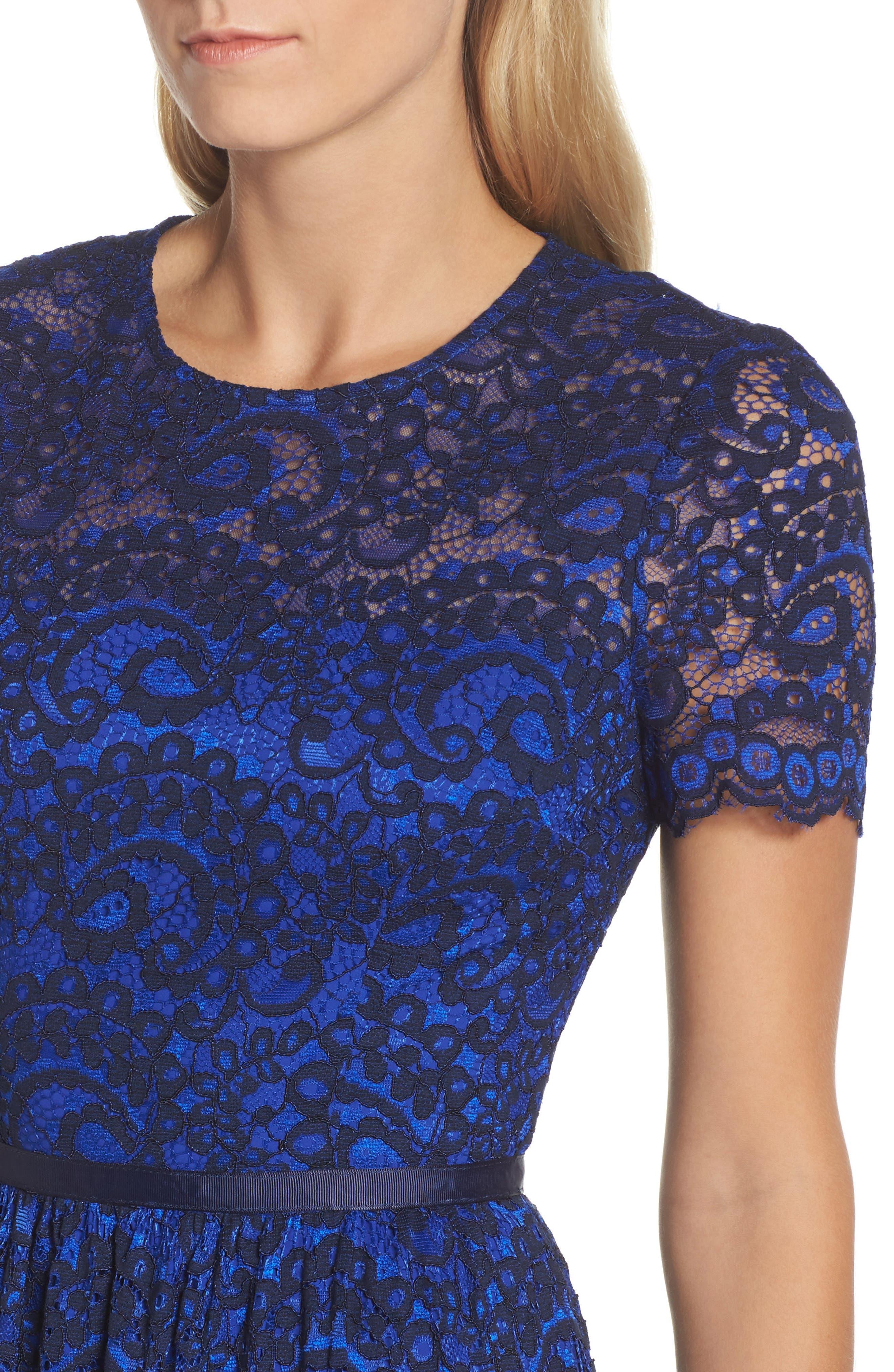 Lace Midi Dress,                             Alternate thumbnail 4, color,                             Cobalt/ Navy