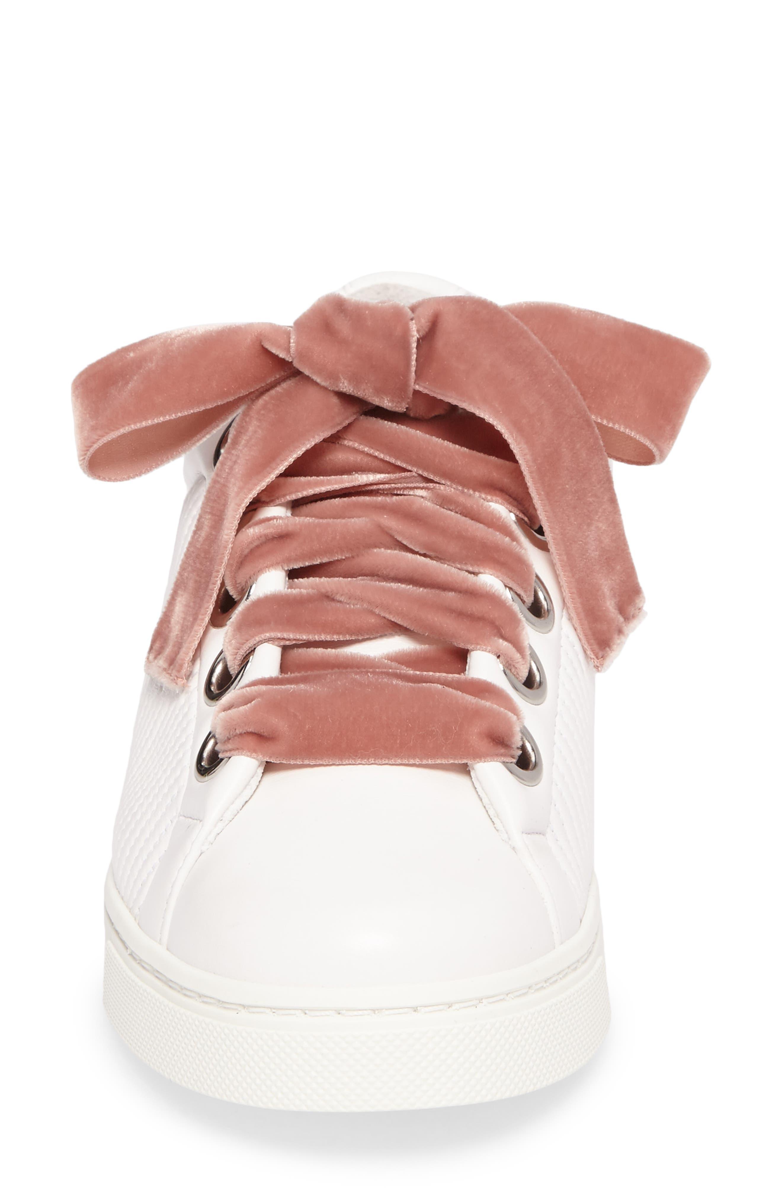 Matelassé Sneaker,                             Alternate thumbnail 4, color,                             White