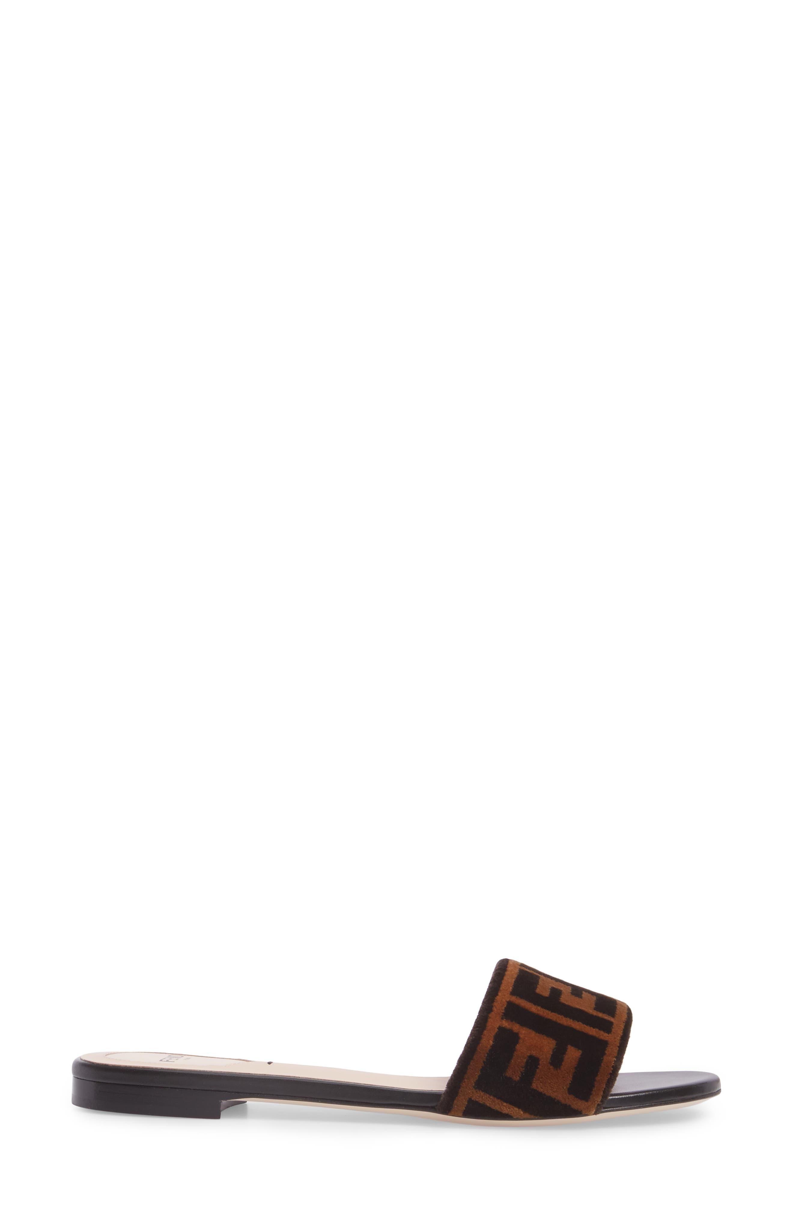 Logo Slide Sandal,                             Alternate thumbnail 3, color,                             Tobacco