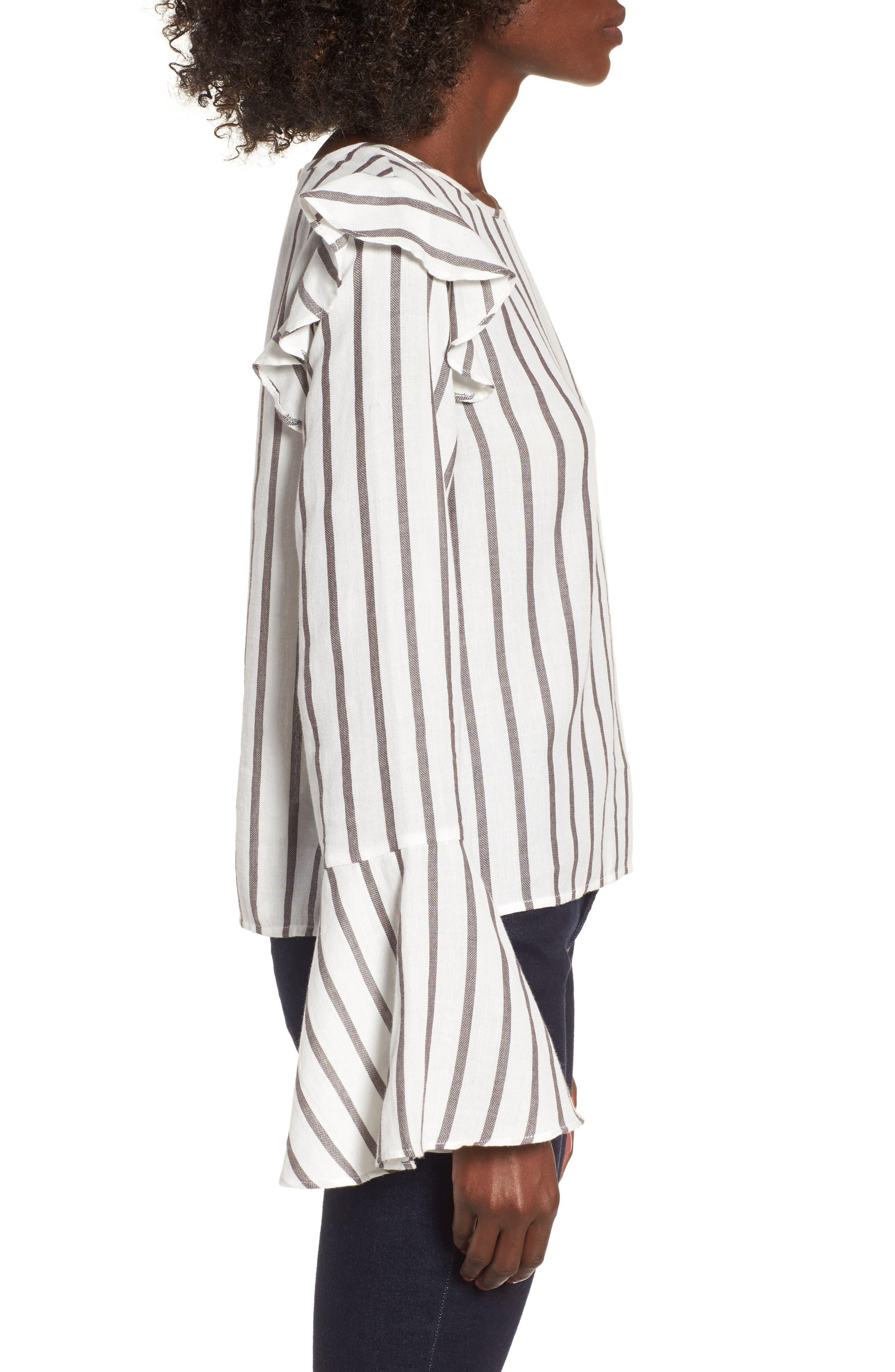 Ruffle Shoulder Flare Cuff Shirt,                             Alternate thumbnail 3, color,                             Ivory Egret Emmy Stripe