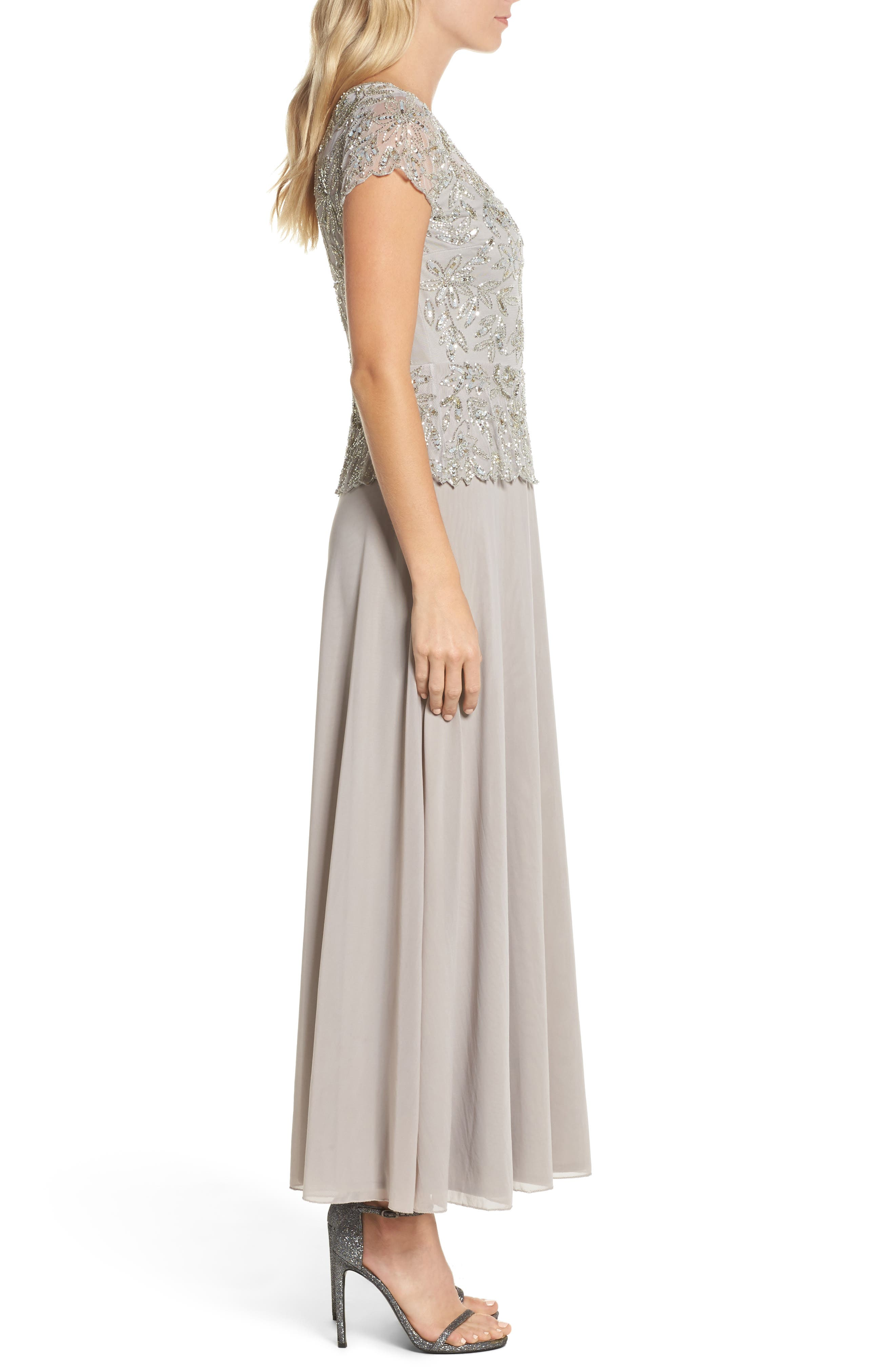 Beaded Mesh Mock Two-Piece Gown,                             Alternate thumbnail 3, color,                             Silver