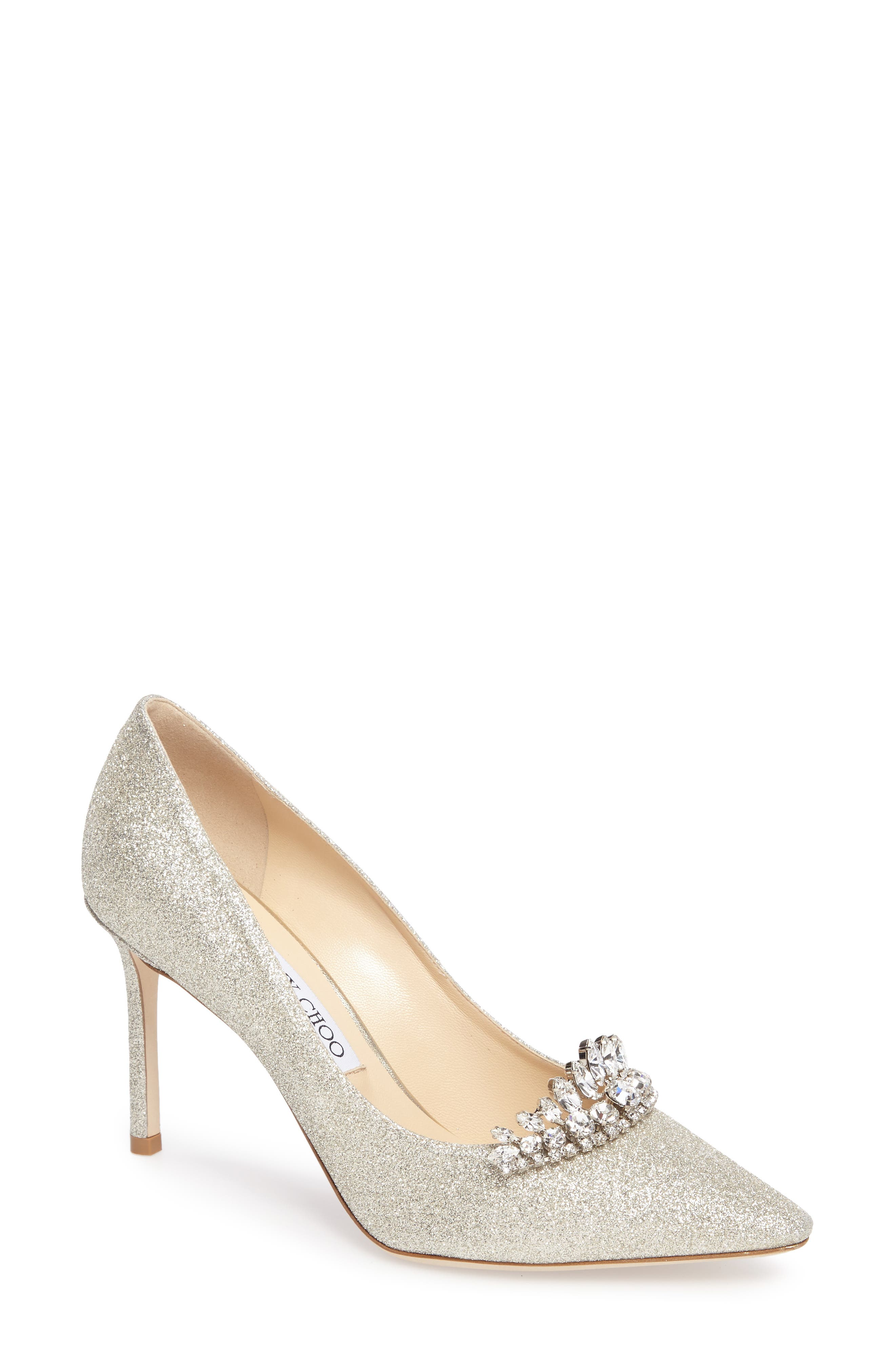 Romy Crystal Embellished Pump,                             Main thumbnail 1, color,                             Platinum Ice/ Crystal