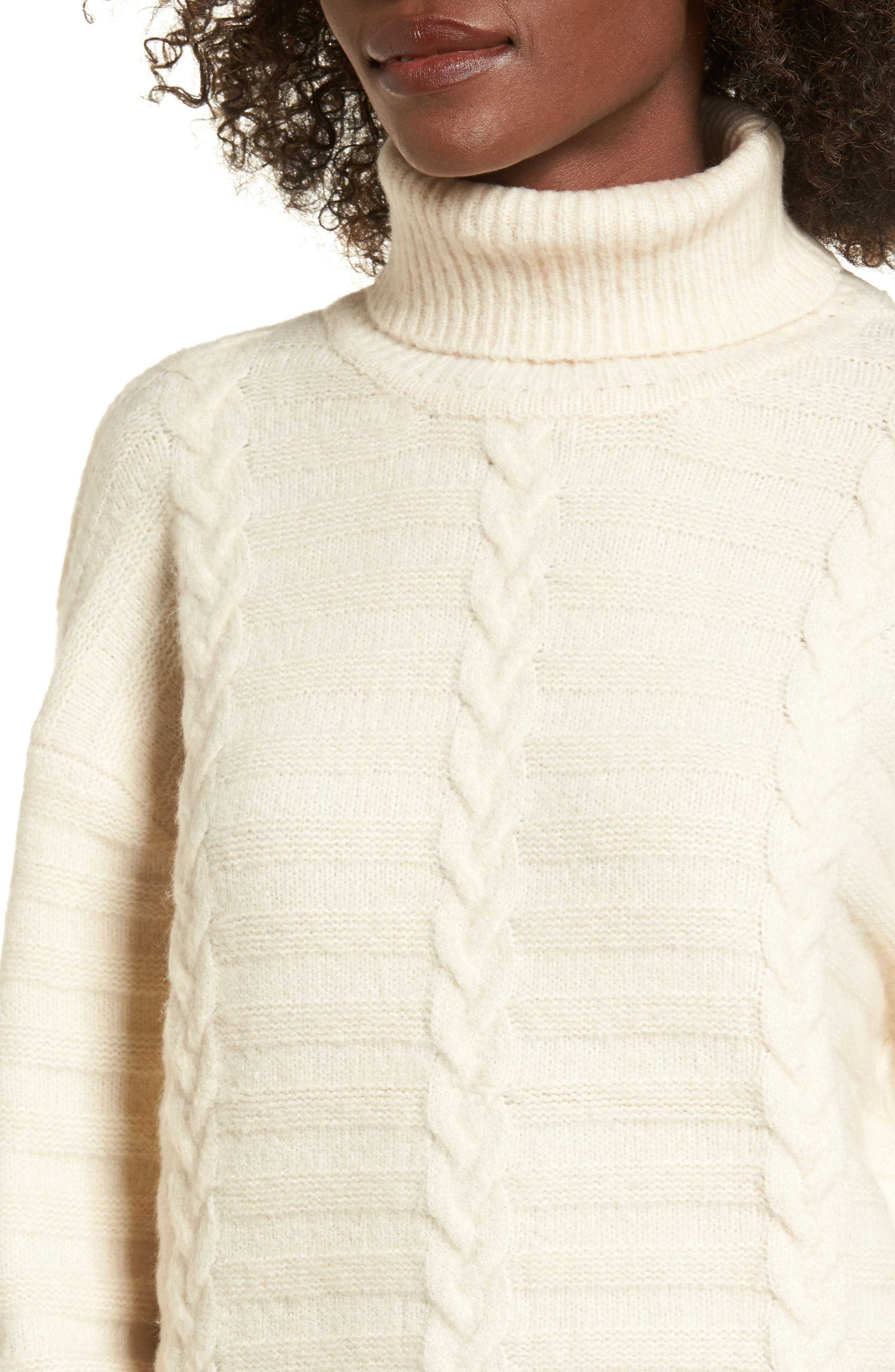 Turtleneck Sweater,                             Alternate thumbnail 4, color,                             Ivory