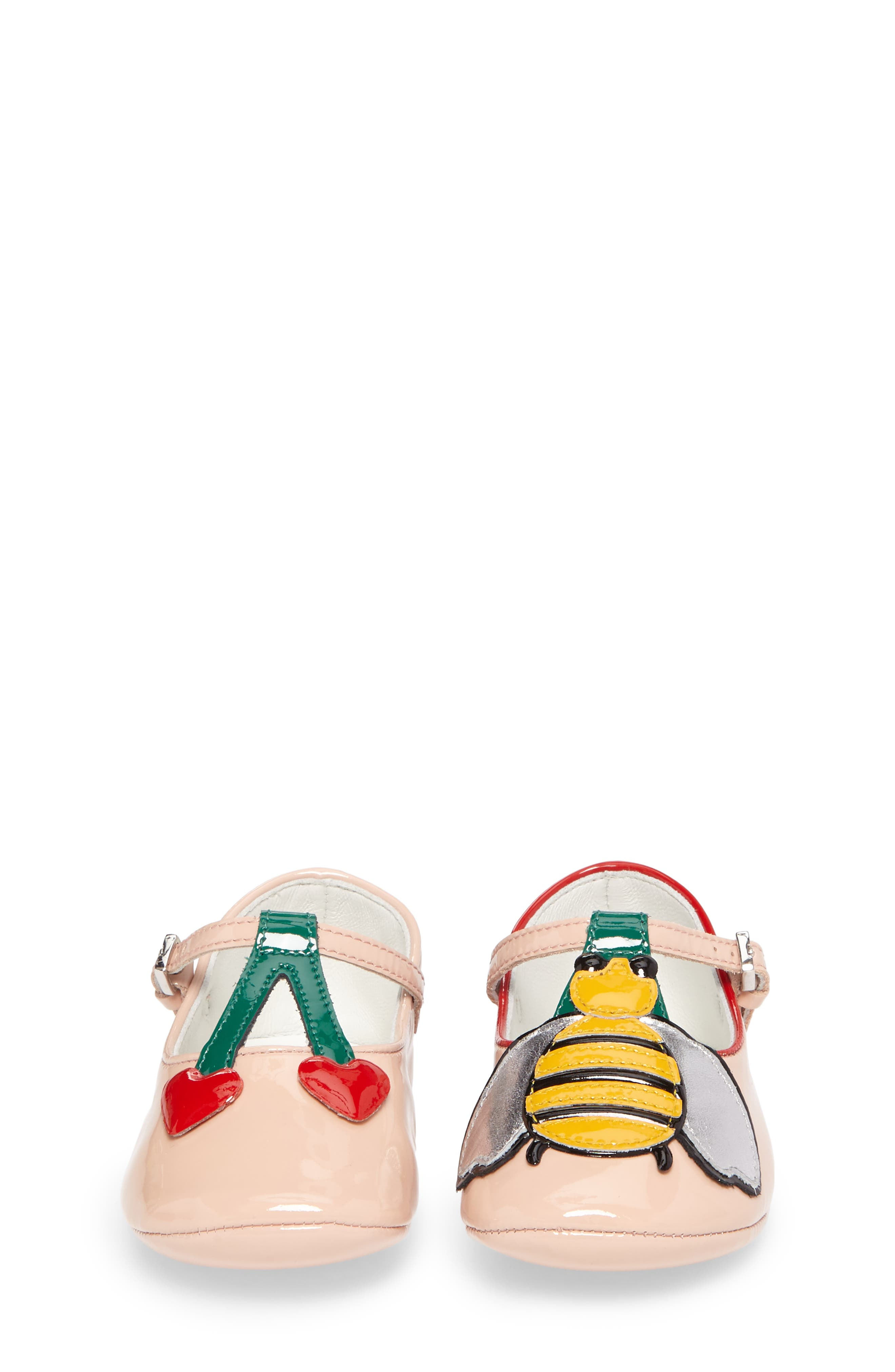 Cerise Baby Bee Mary Jane Crib Shoe,                             Alternate thumbnail 5, color,                             Pink/ Emerald