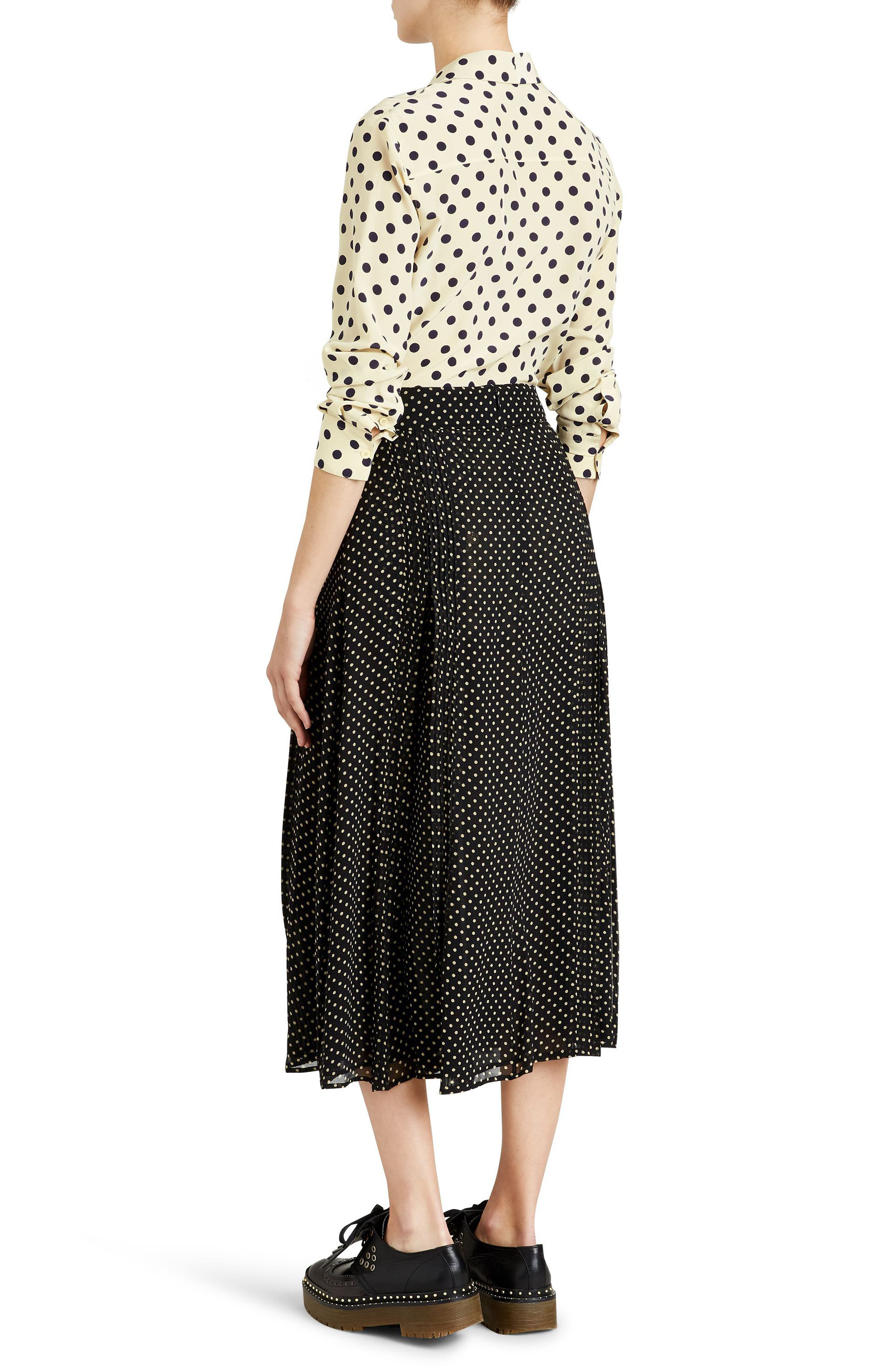 Fine Pintuck Dot Print Silk Skirt,                             Alternate thumbnail 4, color,                             Black