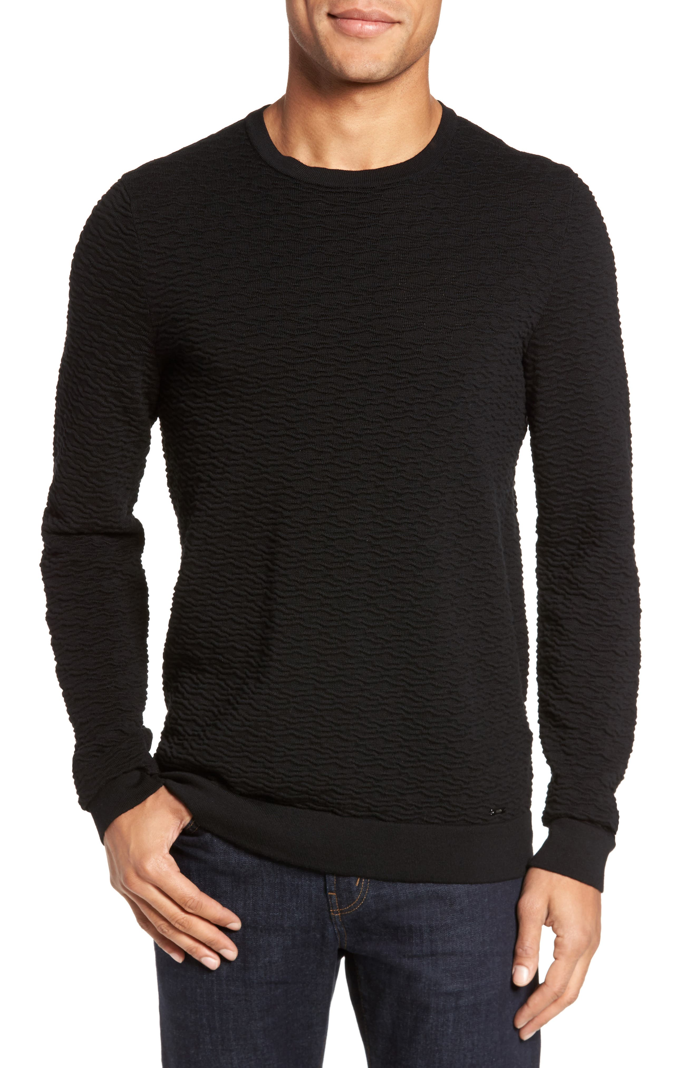 BOSS Svavon Textured Cotton Sweater